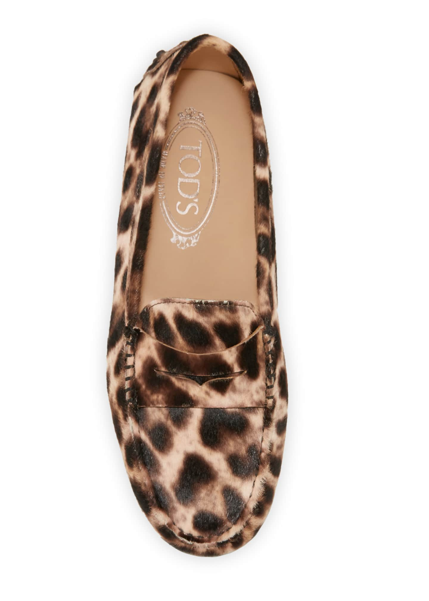 Image 3 of 3: Leopard-Print Gommini Flat Penny Loafers
