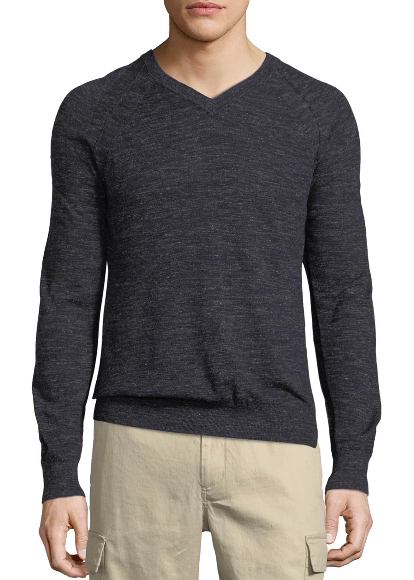 Vince Men S Seamed Wool Linen V Neck Sweater Bergdorf