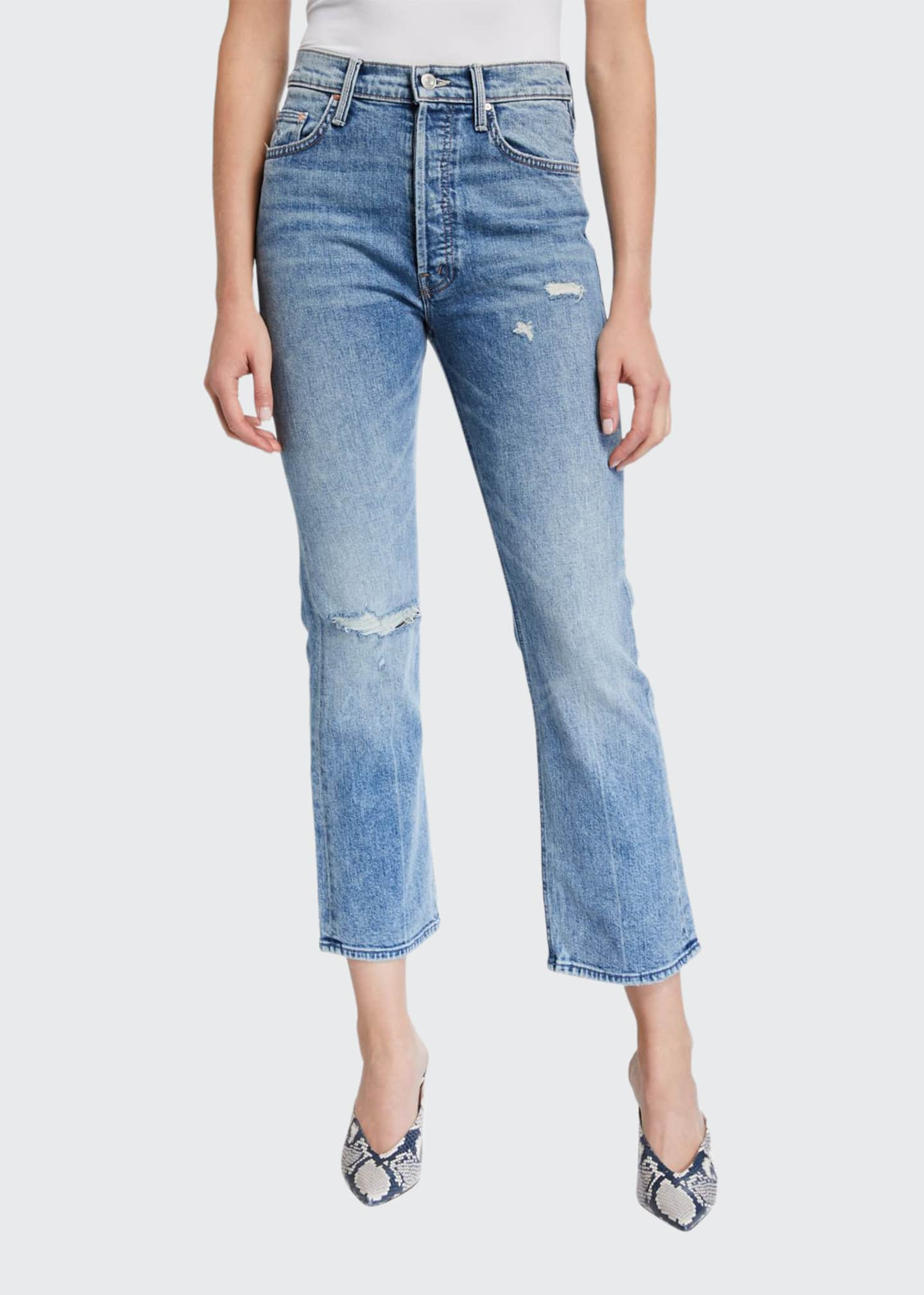 MOTHER The Tripper High-Rise Distressed Ankle Jeans