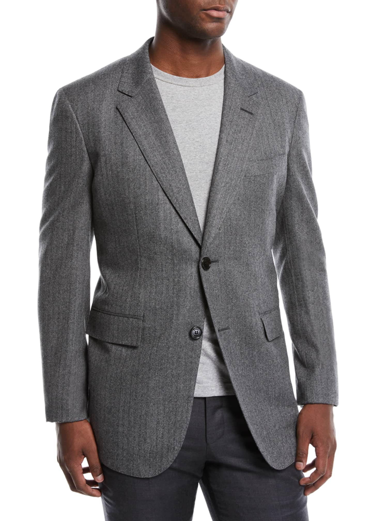 Berluti Men's Two-Button Wool Herringbone Blazer