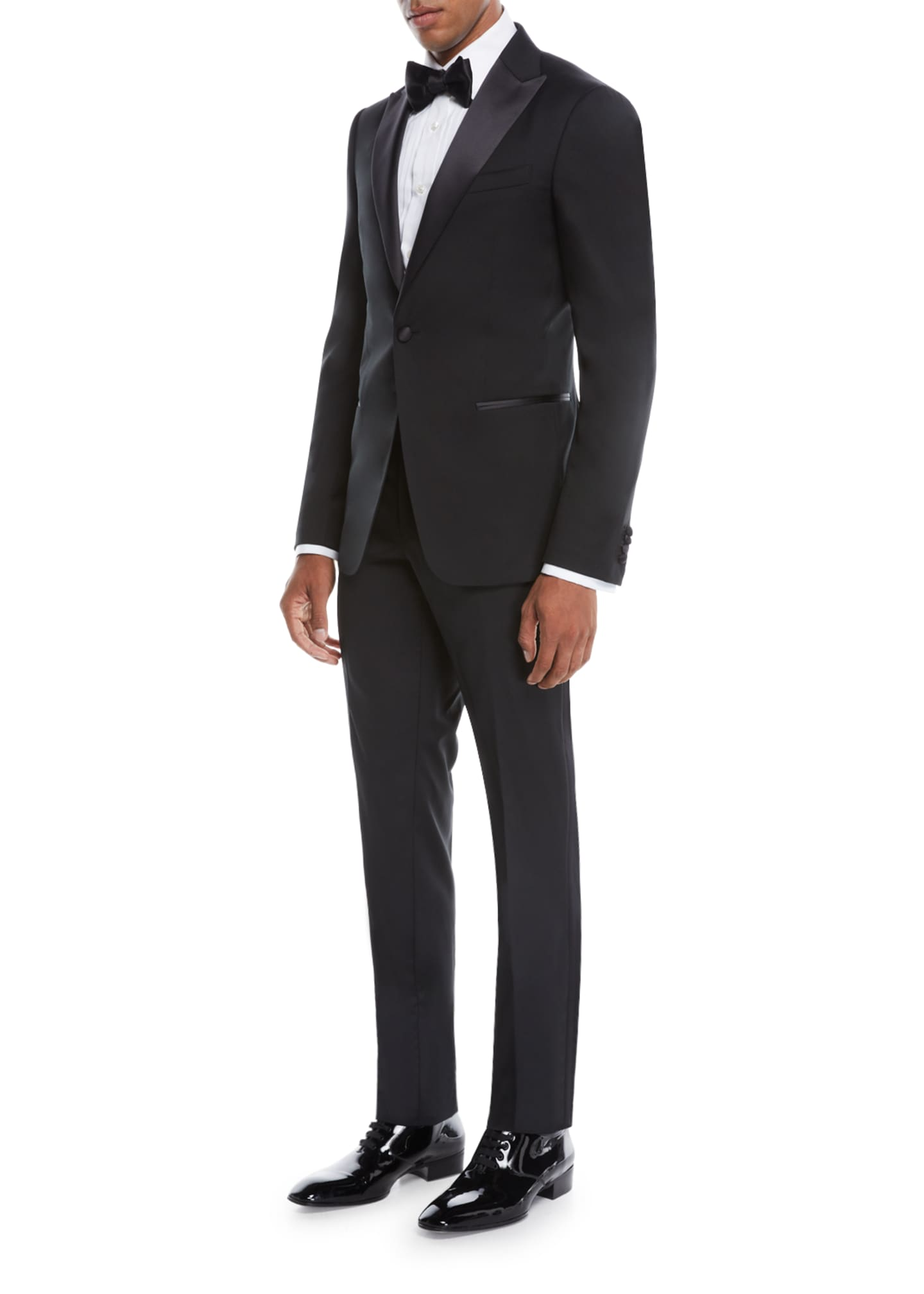 Image 2 of 3: Men's Satin-Lapel Tuxedo Suit