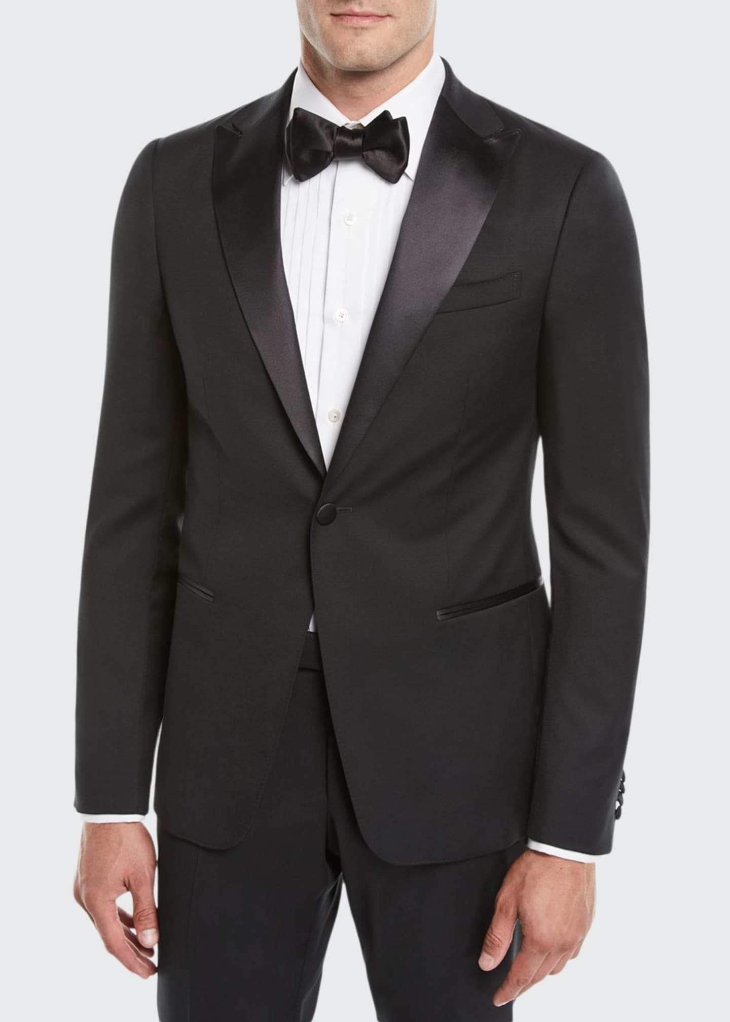 Image 1 of 3: Men's Satin-Lapel Tuxedo Suit