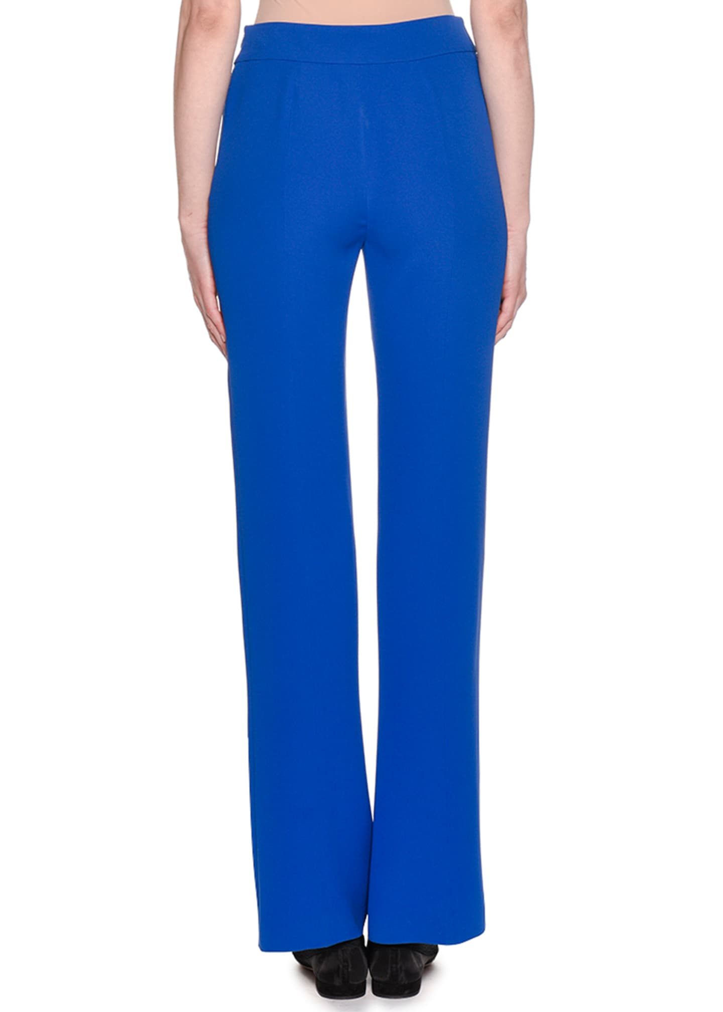 Image 2 of 2: Double-Face Boot-Cut Silk Crepe Pants