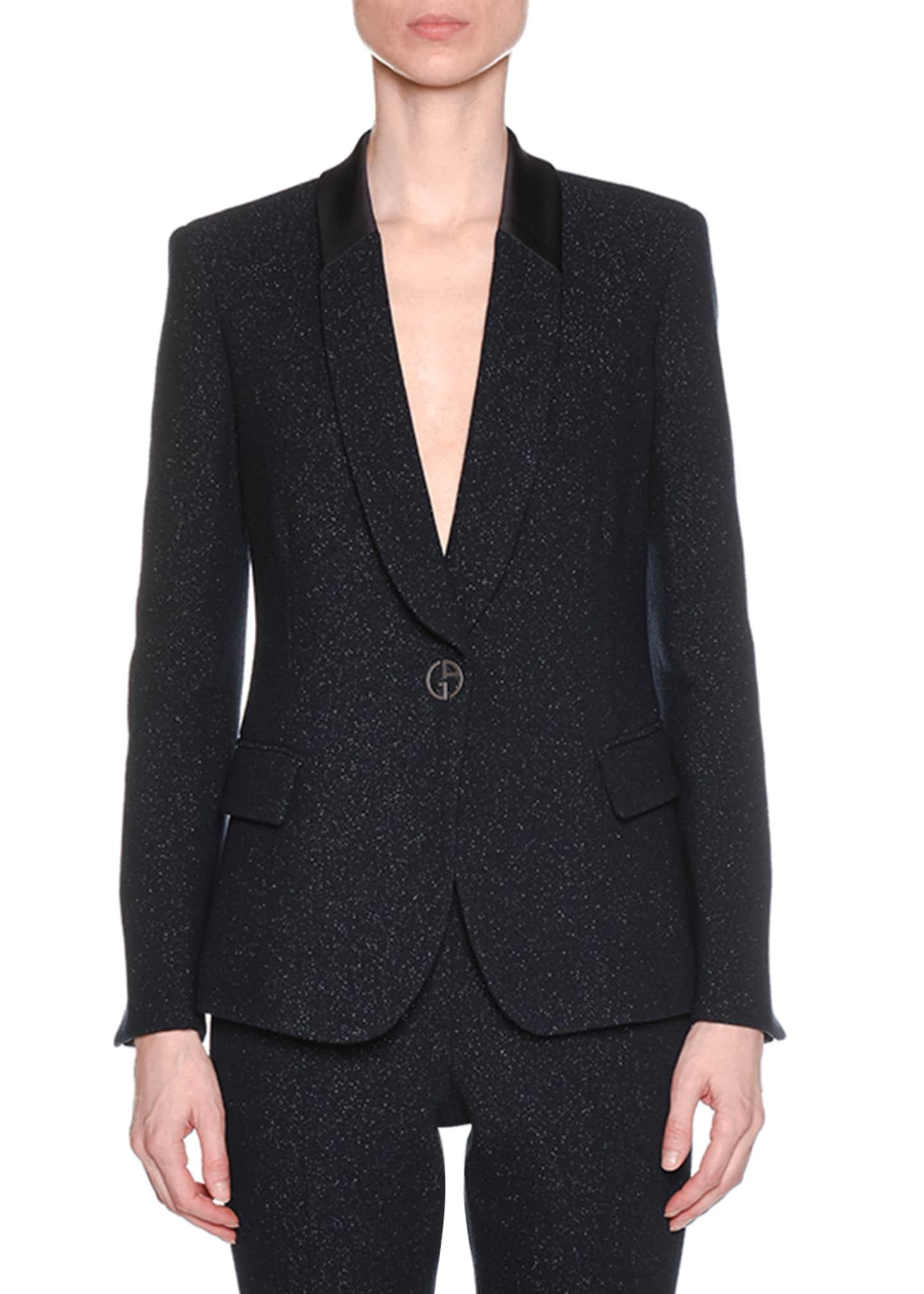 Giorgio Armani One-Button Metallic Double-Face Wool Blazer w/