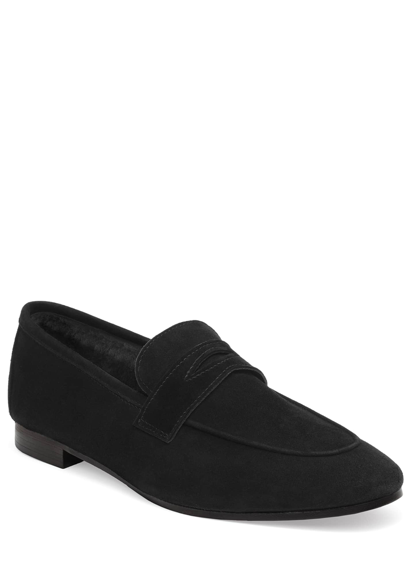 Bougeotte Noir Absolu Suede and Shearling Loafers