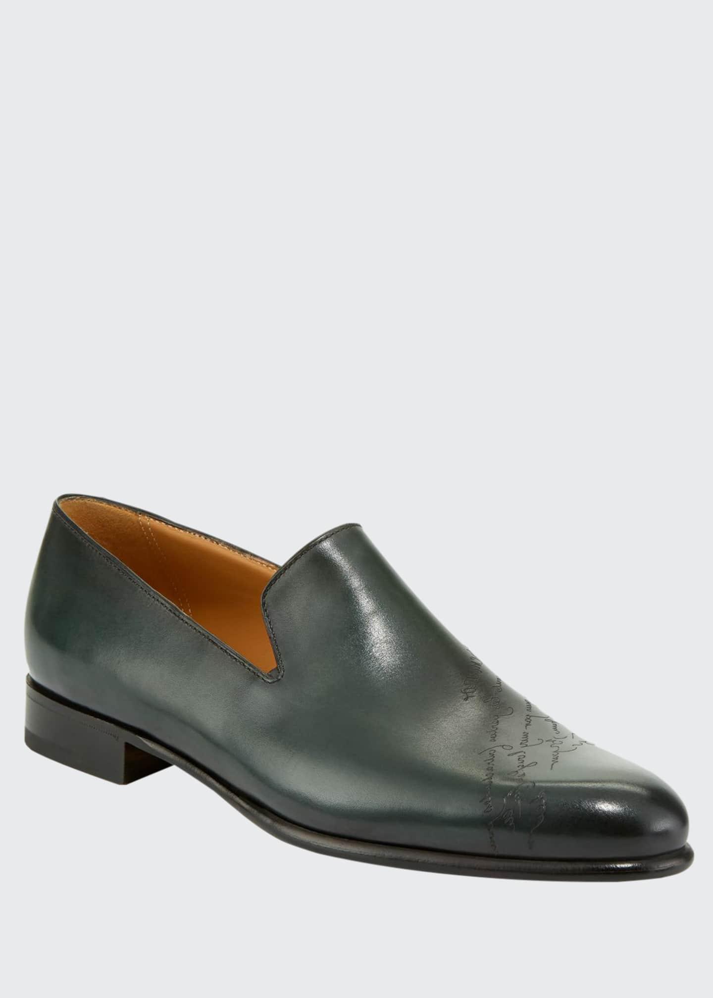 Berluti Men's Cambridge Scritto Leather Slip-On Dress Shoes