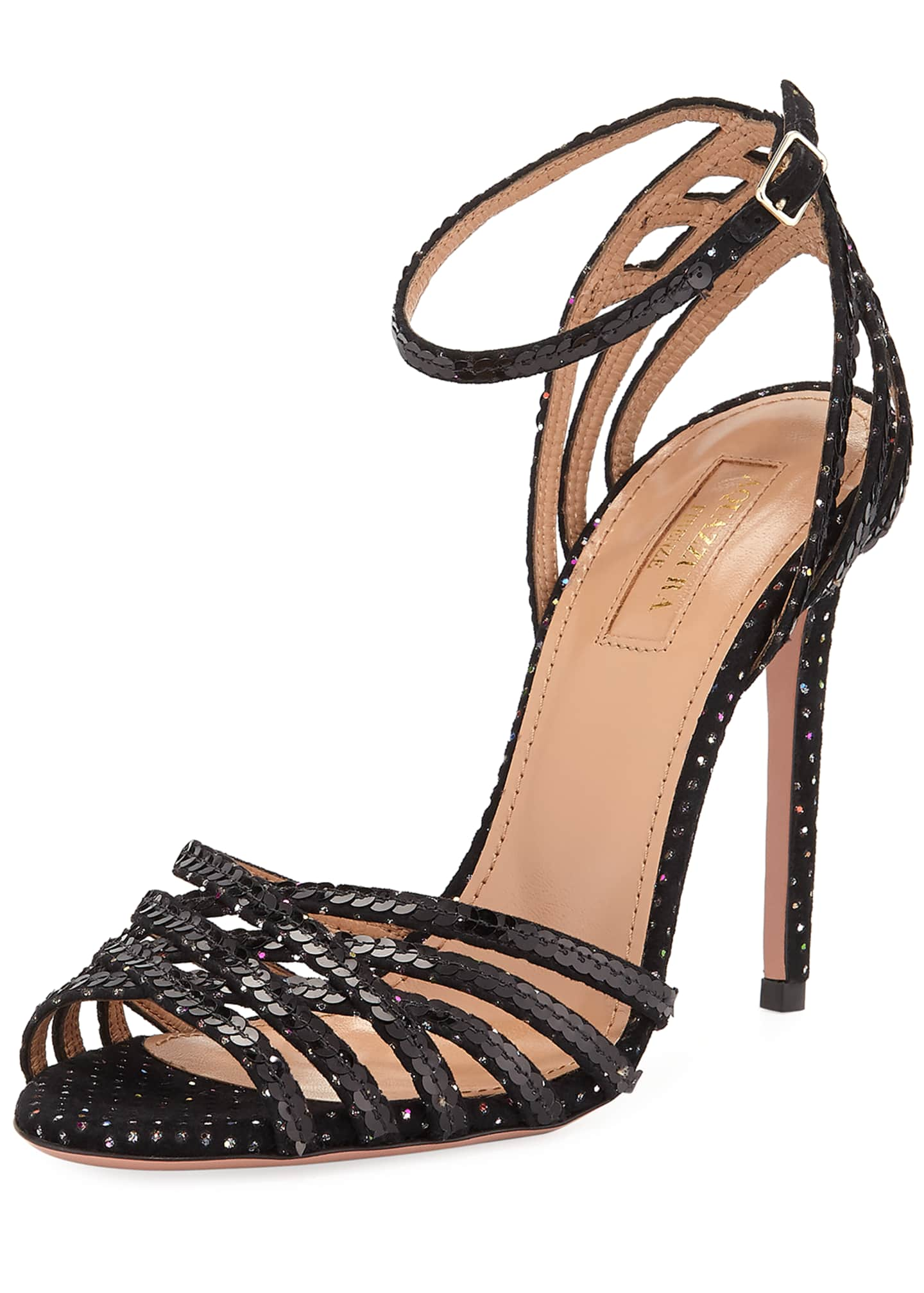 Aquazzura Studio Sequin Sandals with Ankle Strap Velvet