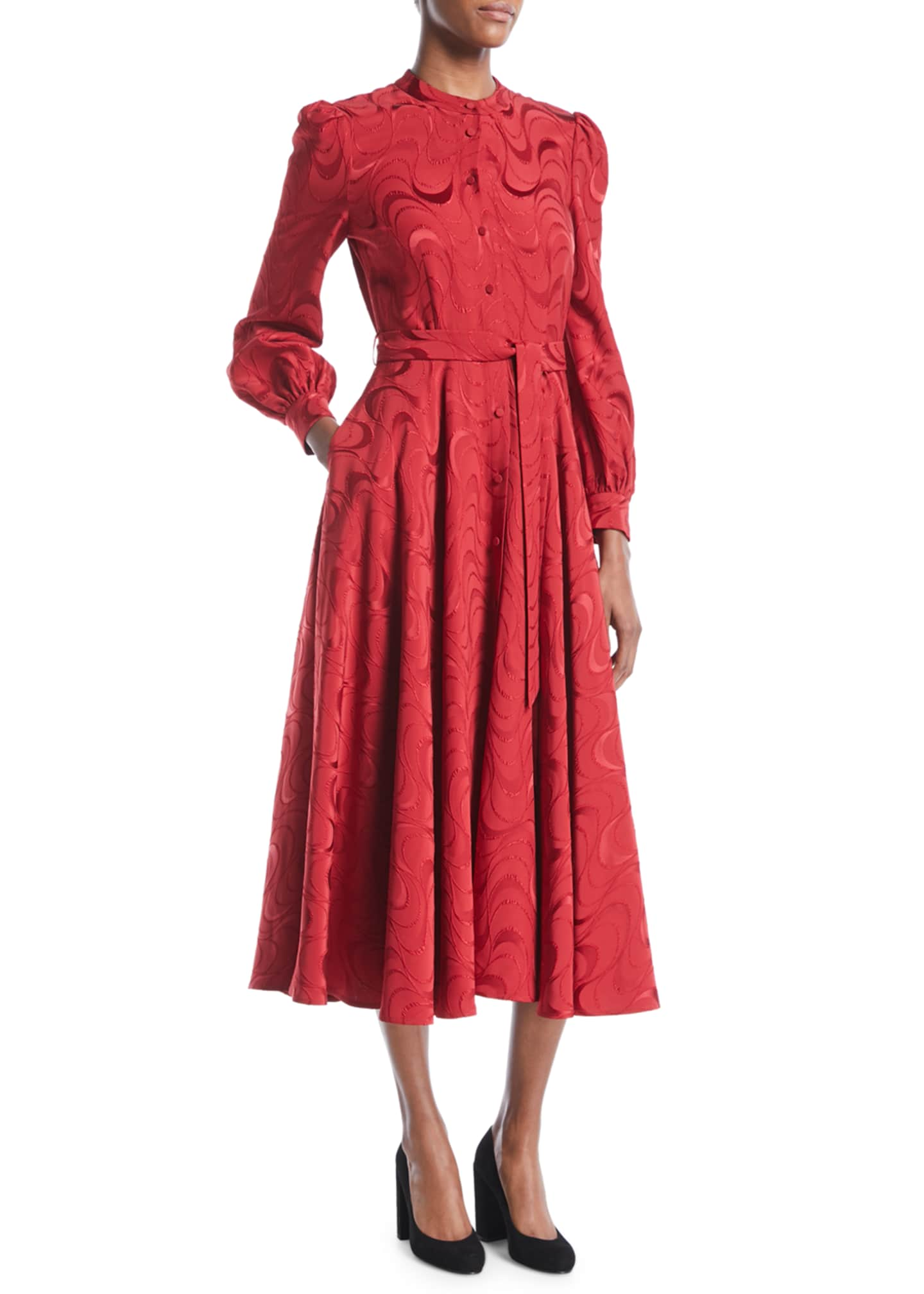 Co Button-Down Long-Sleeve Spiral-Jacquard Midi Dress