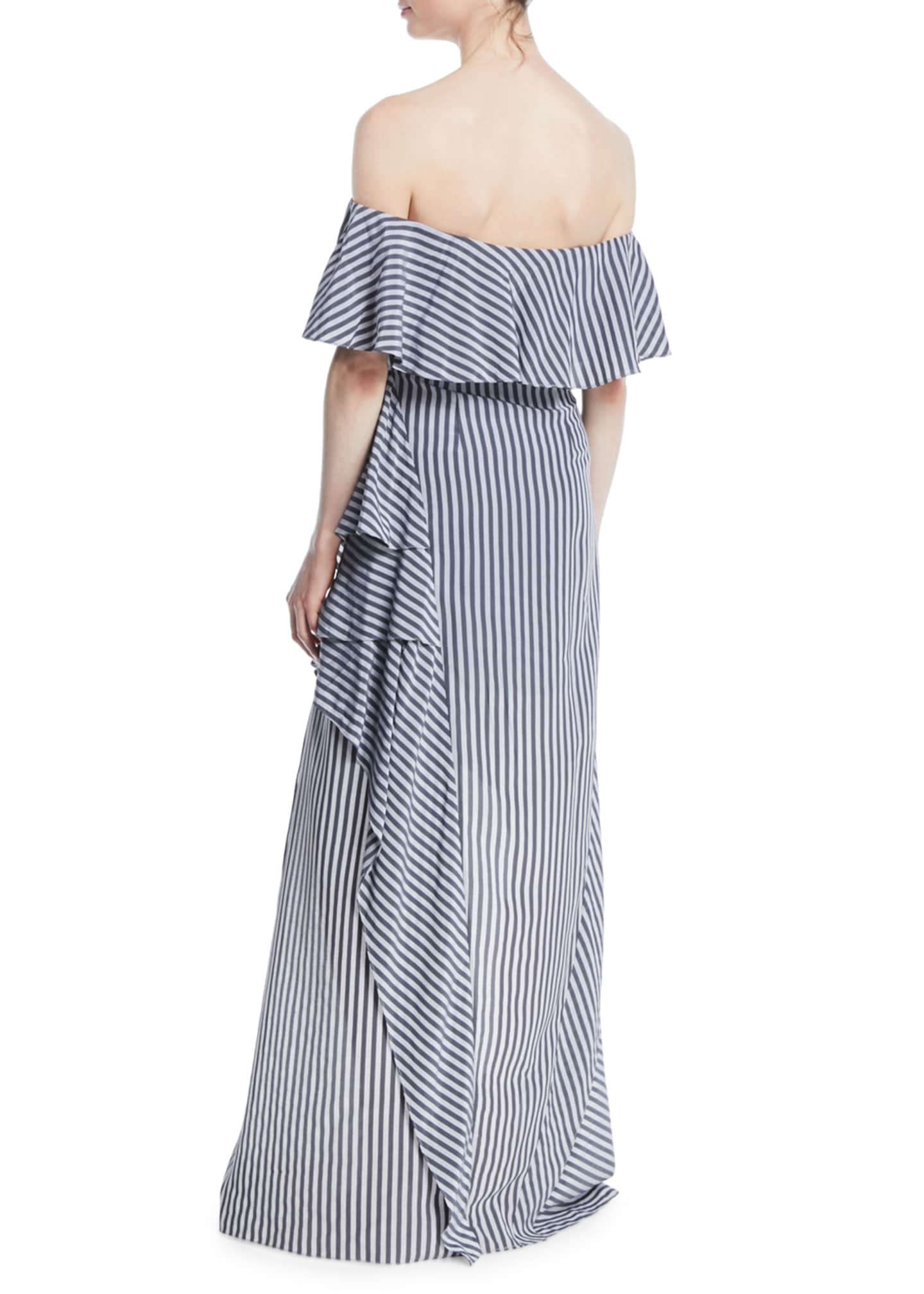Image 2 of 2: Off-the-Shoulder Striped Flounce Gown