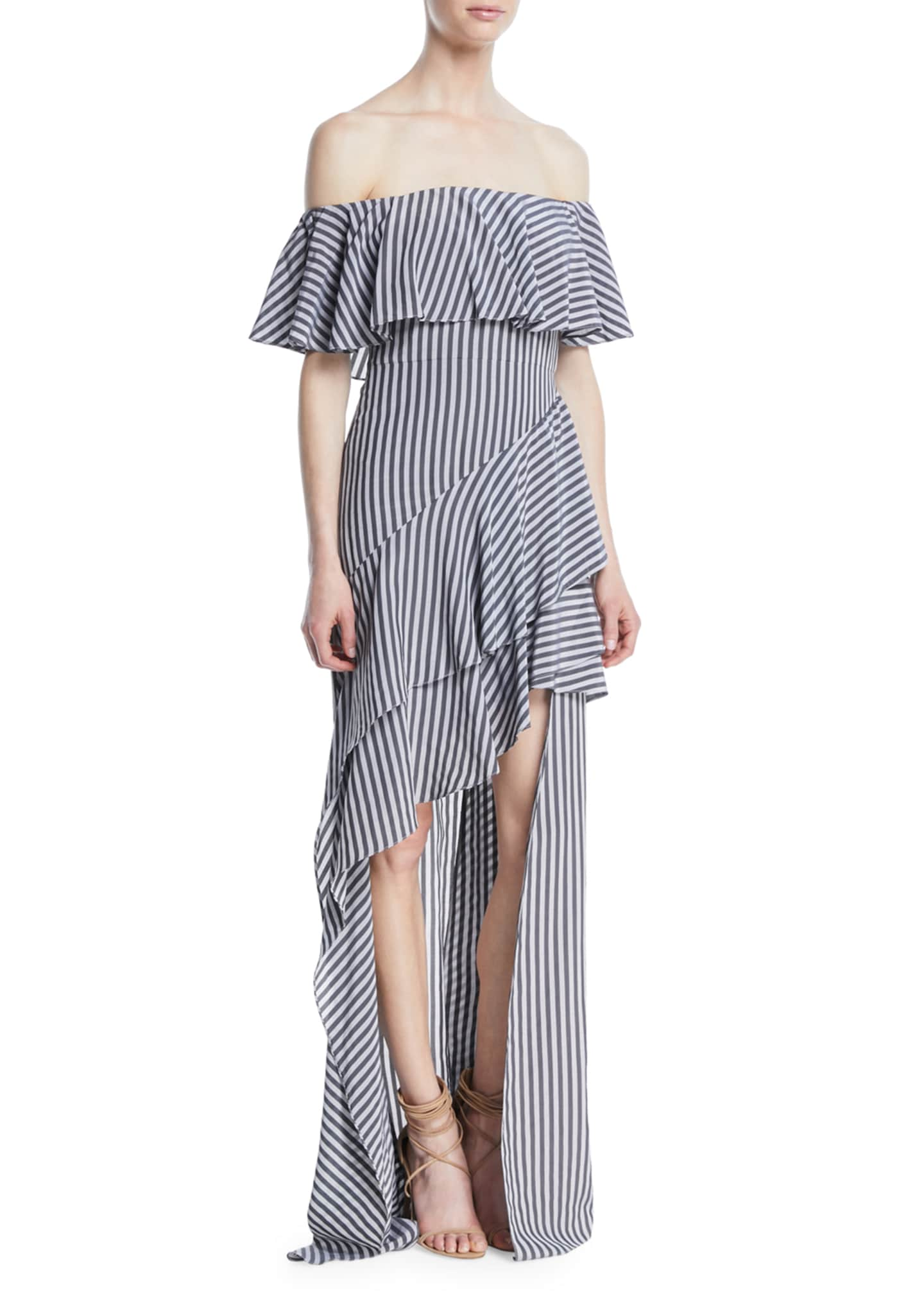 Image 1 of 2: Off-the-Shoulder Striped Flounce Gown