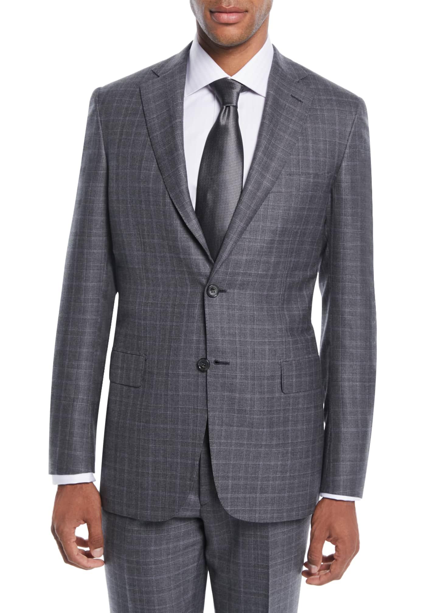 Brioni Men's Plaid Wool-Silk Two-Piece Suit