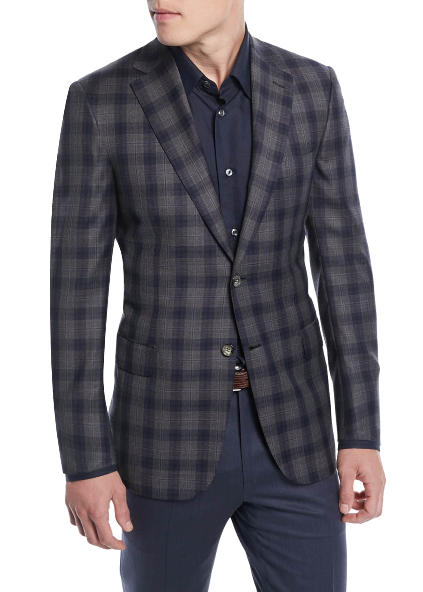 Image 1 of 3: Two-Tone Plaid Two-Button Sport Jacket