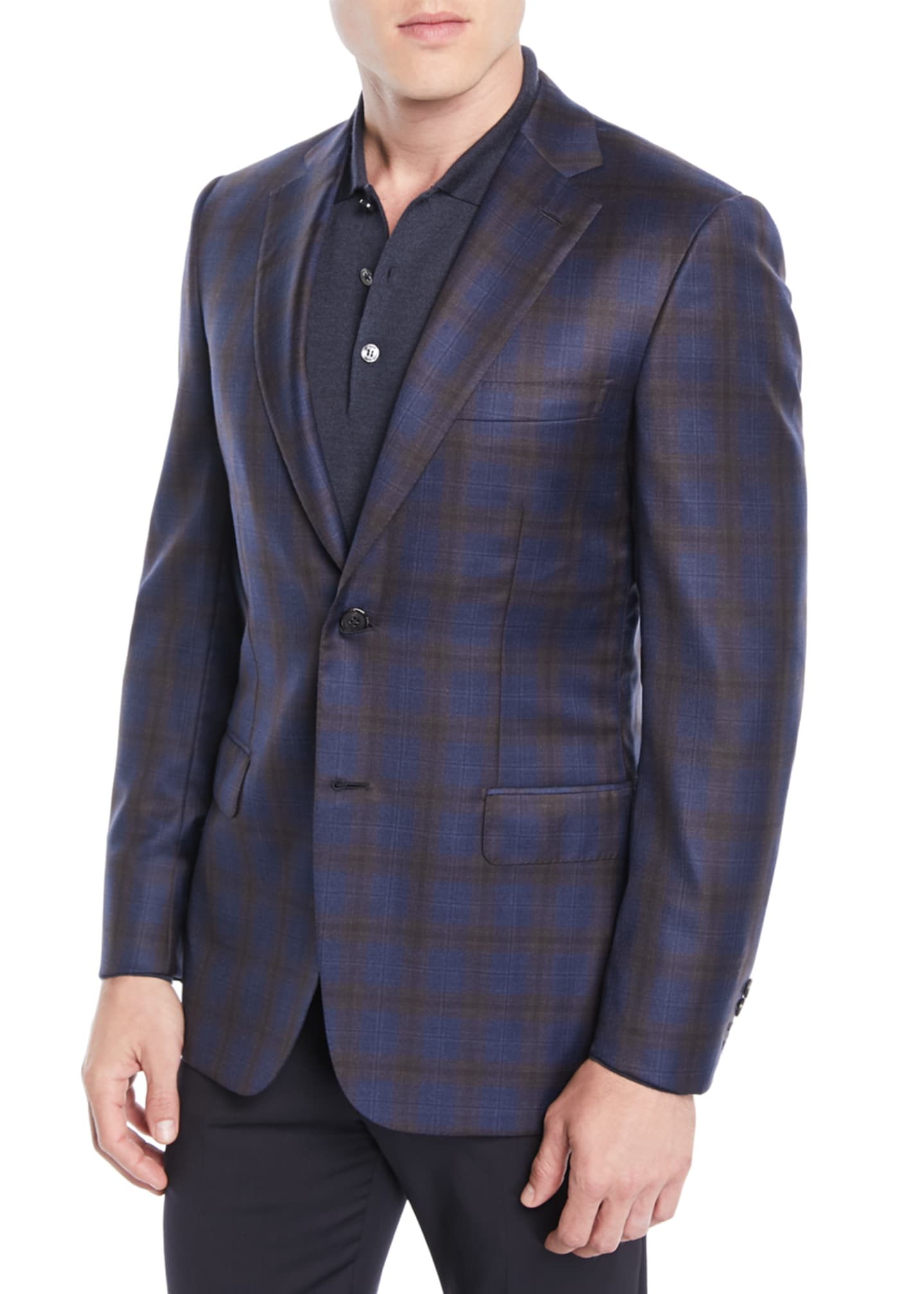 Brioni Men's Two-Tone Plaid Two-Button Jacket, Blue