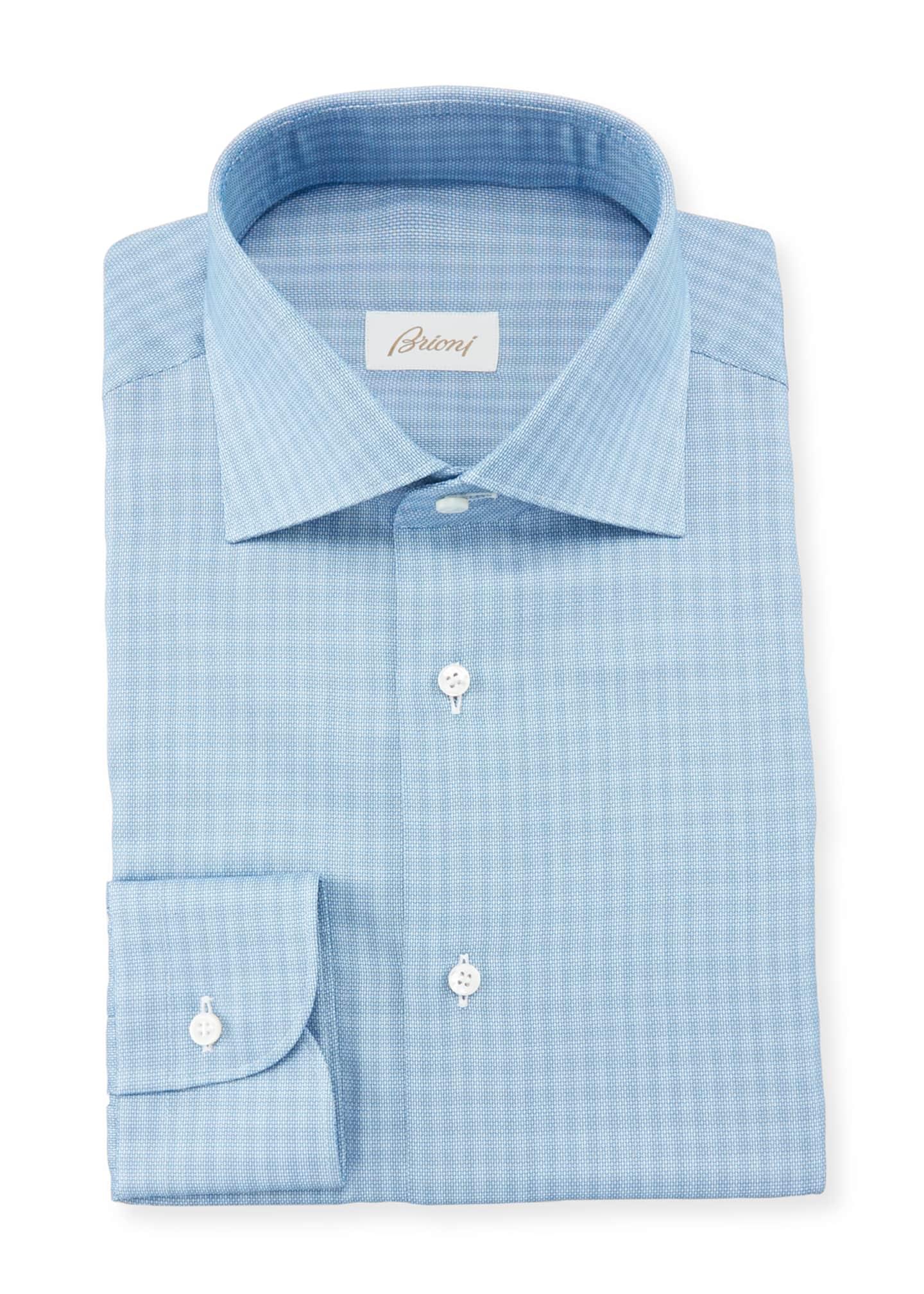 Brioni Men's Tonal Check Dress Shirt