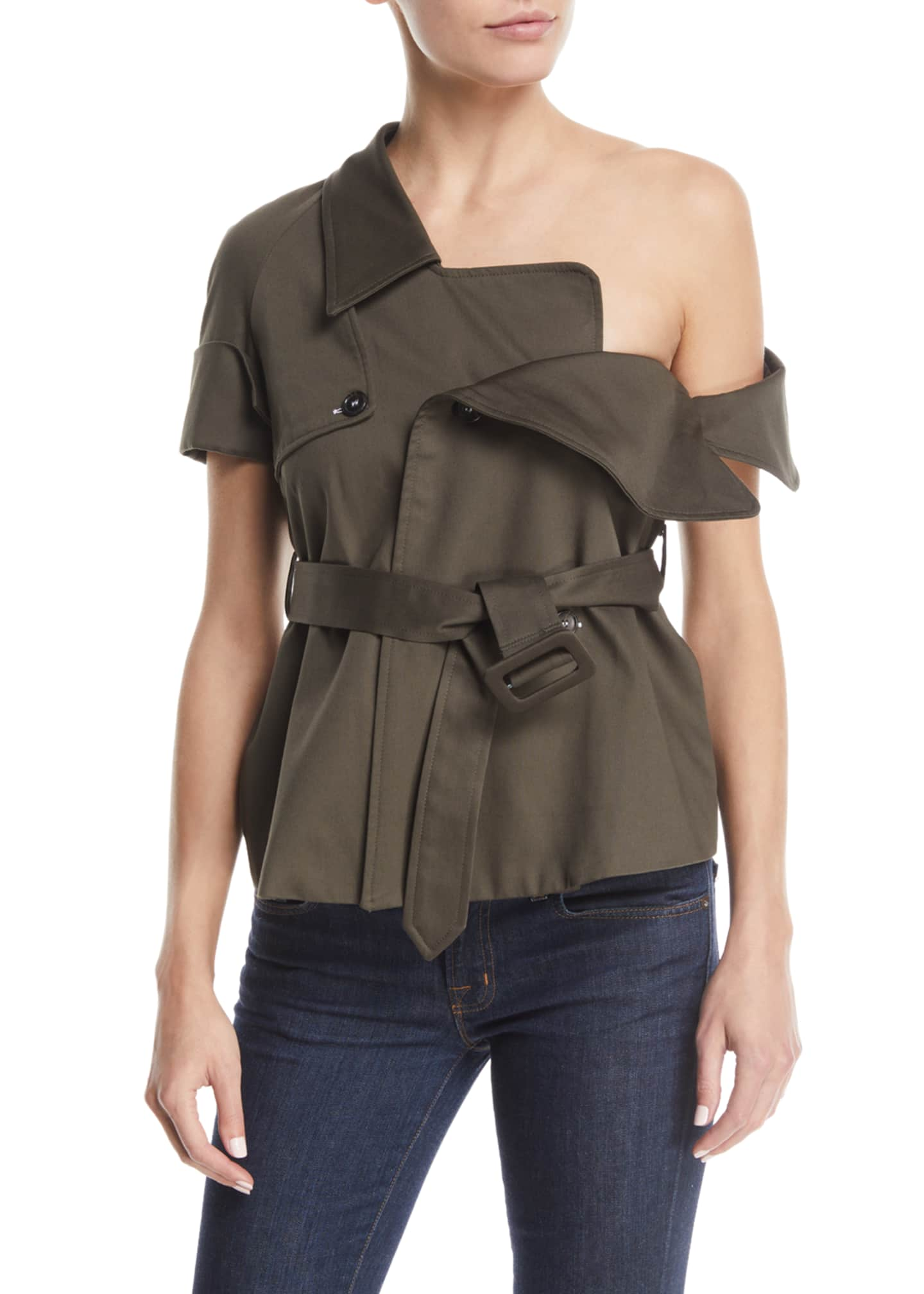 Monographie One-Shoulder Belted Trench Jacket Top