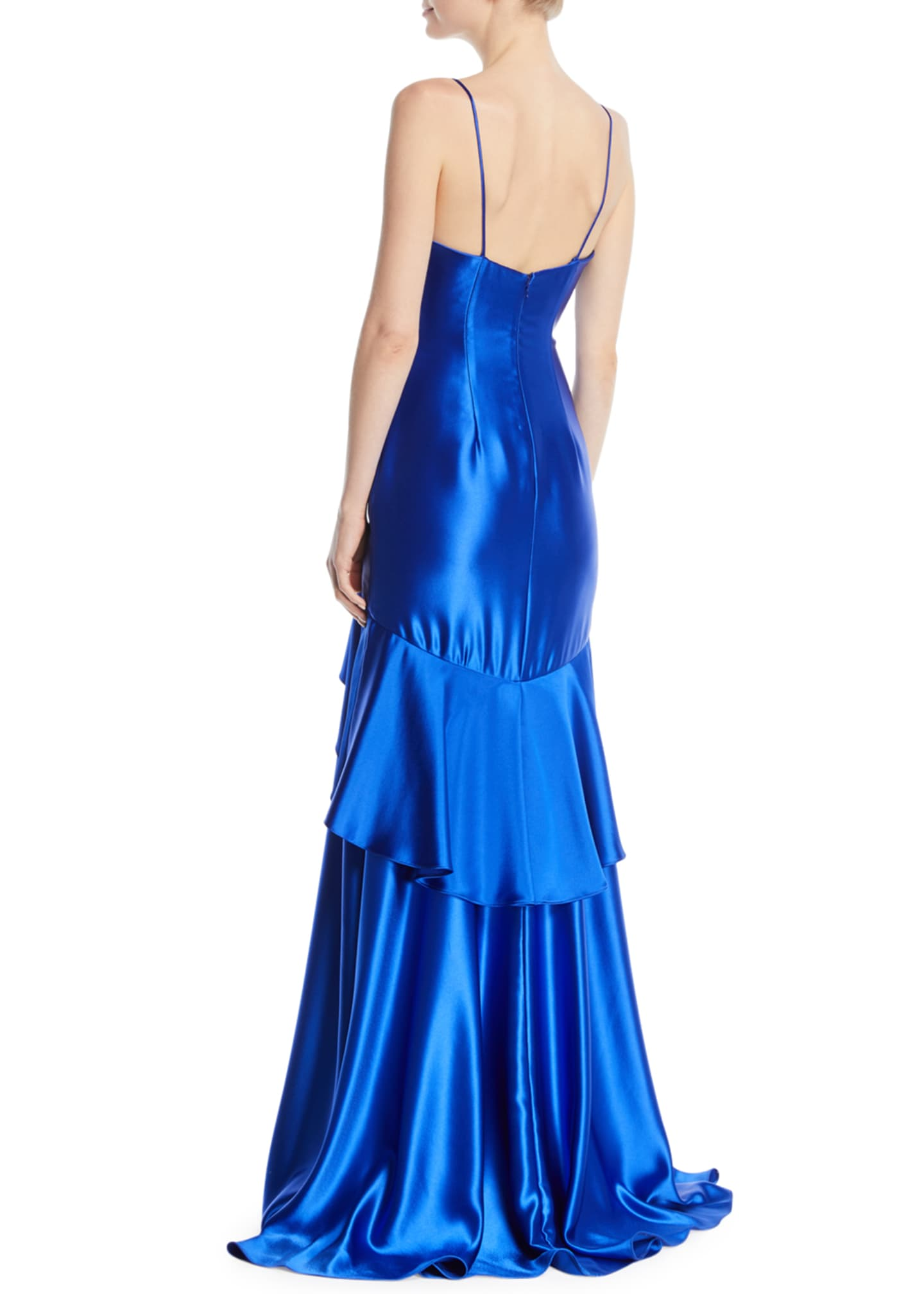 Image 2 of 2: Satin Slip Gown w/ Flounce Skirt