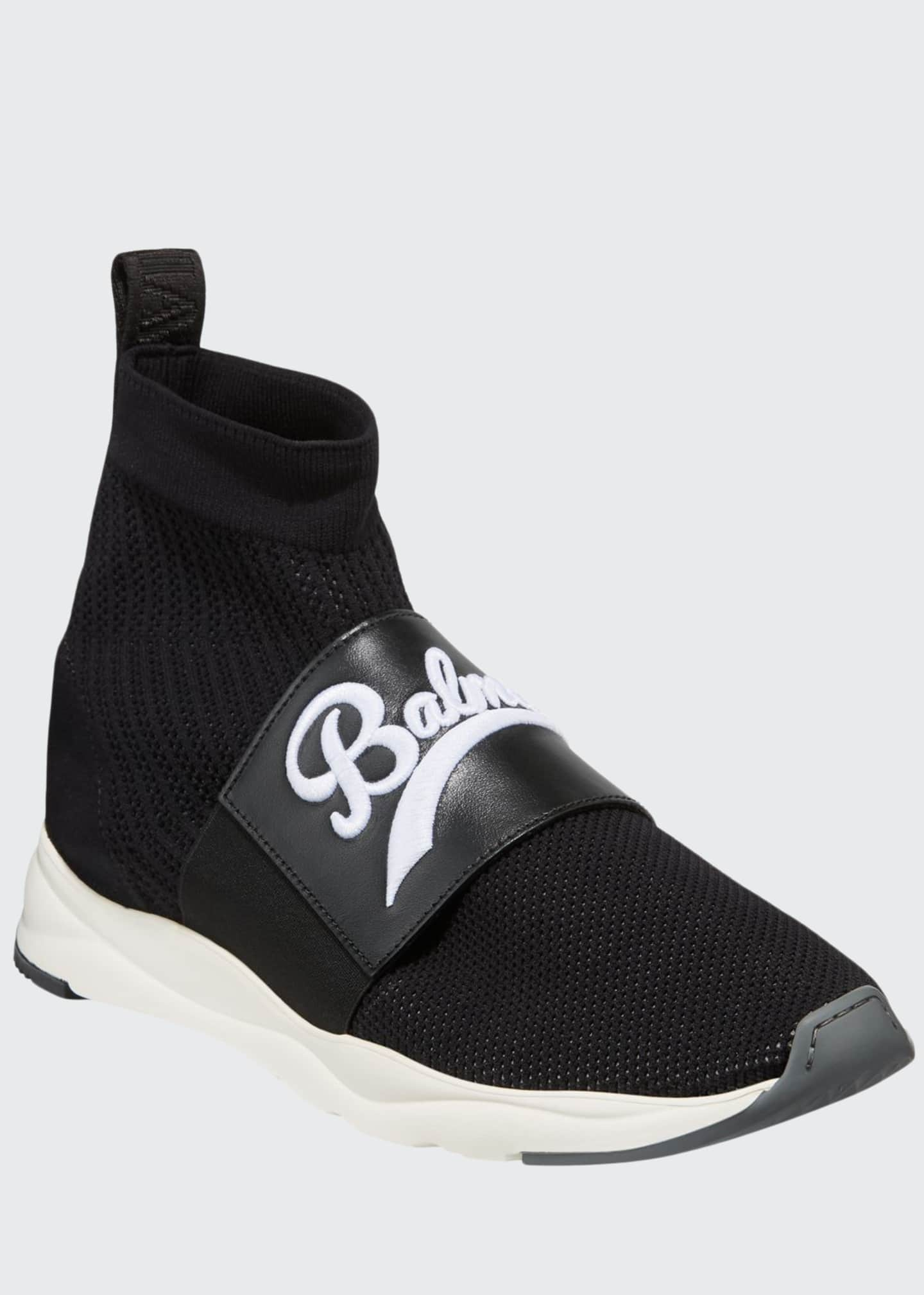 Balmain Men's Cameron Pull-On Logo Sock Running Sneakers