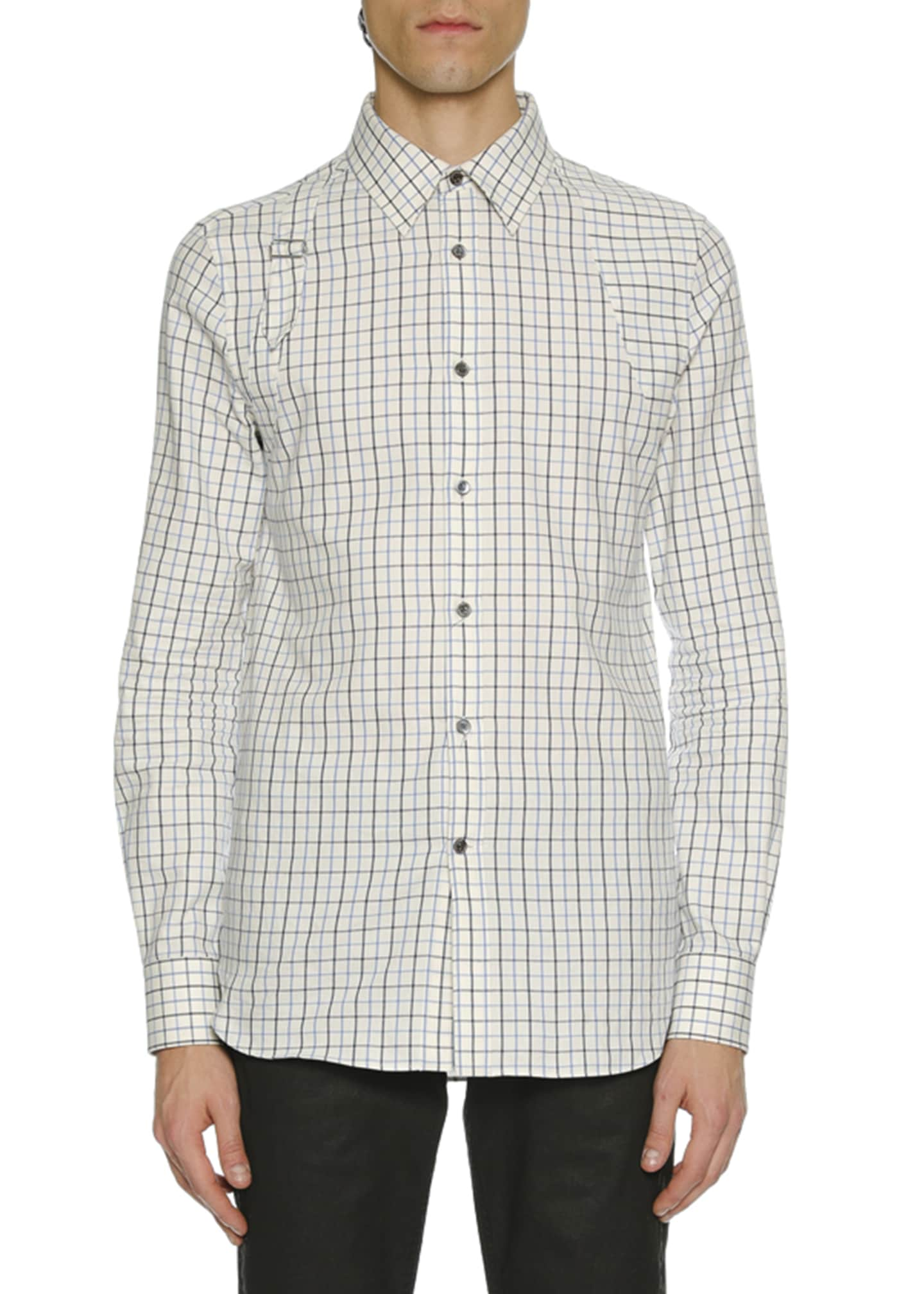 Alexander McQueen Men's Check Buckle-Detail Sport Shirt