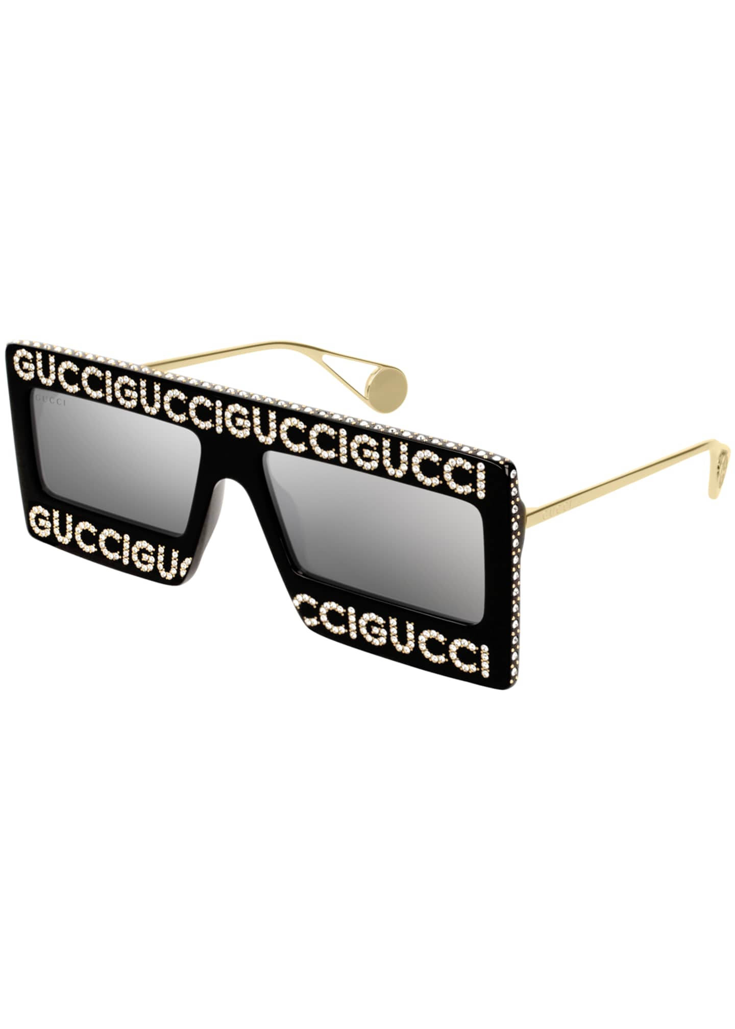 Gucci Crystal Logo Shield Sunglasses