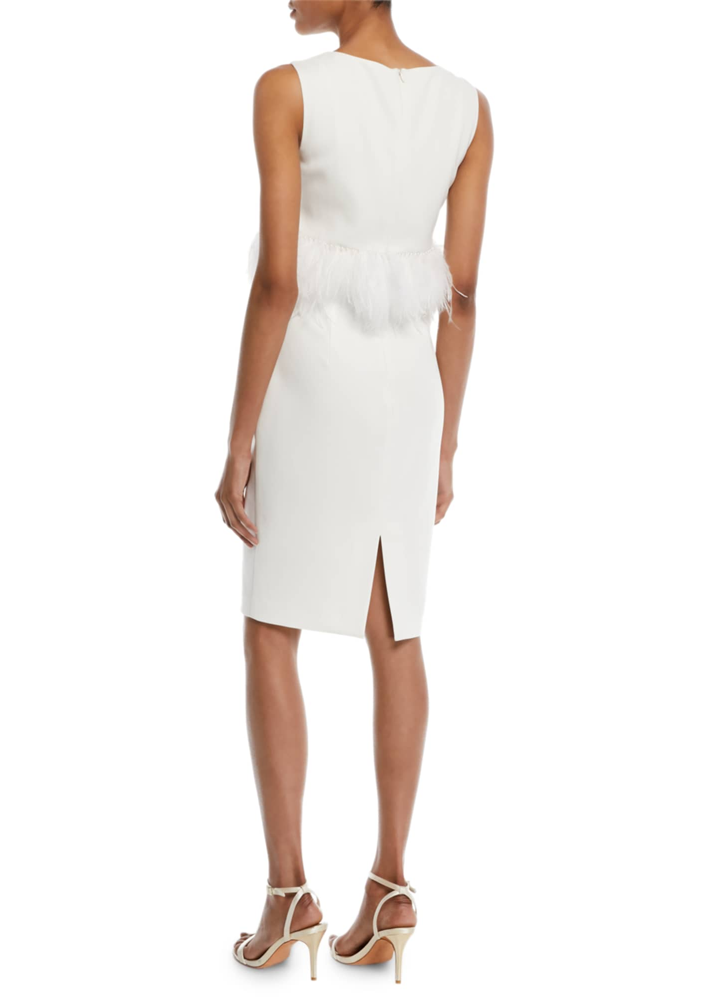 Image 2 of 2: Sleeveless Sheath Cocktail Dress w/ Popover Feathers