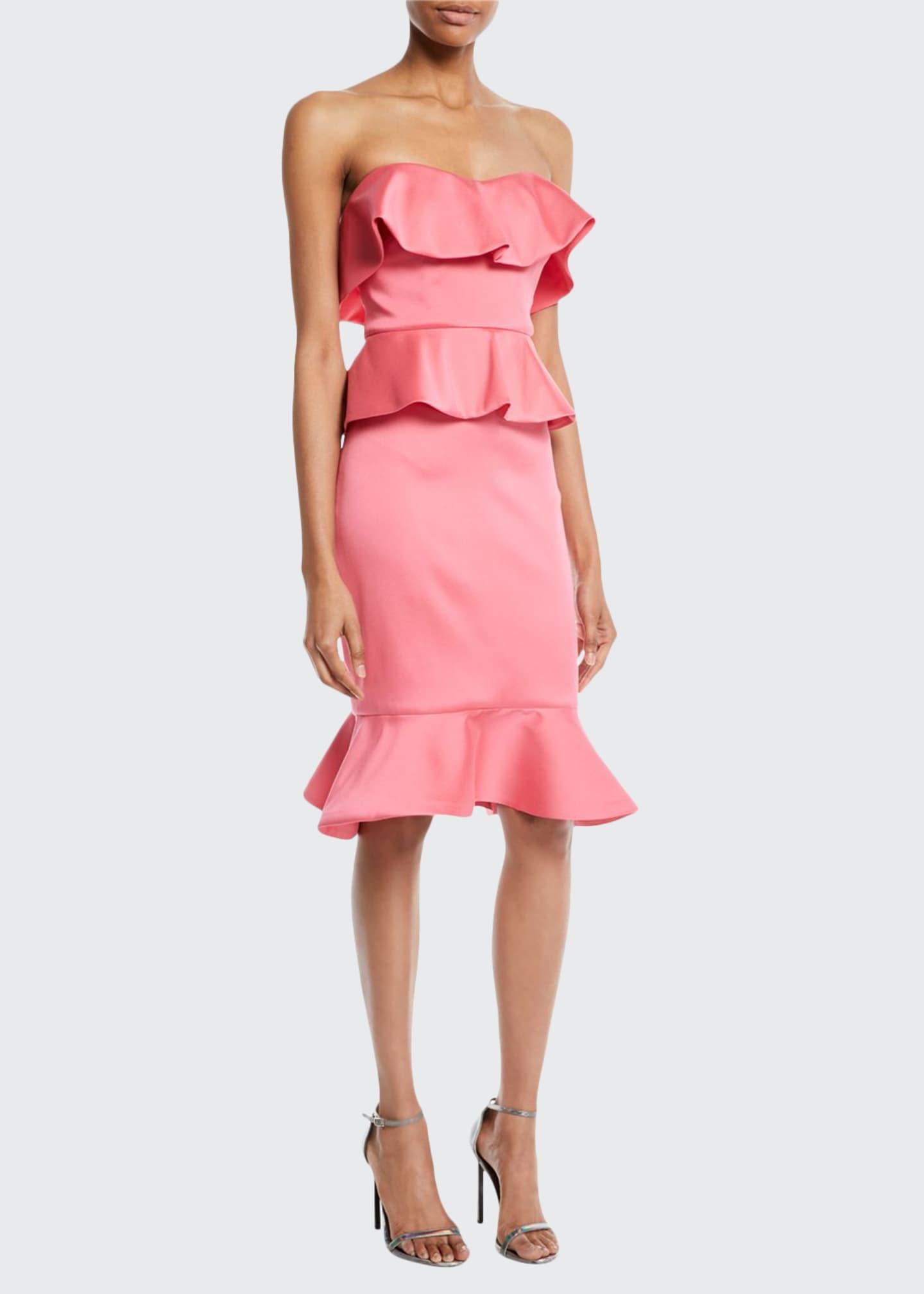 Badgley Mischka Collection Strapless Peplum Cocktail Dress