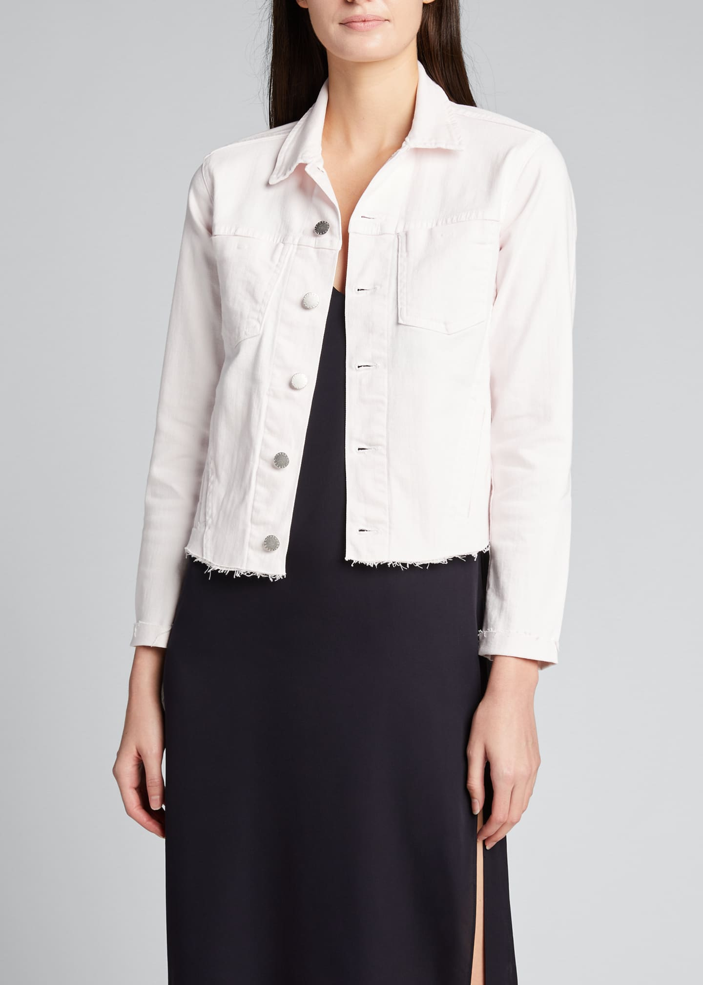 Image 3 of 5: Janelle Slim Cropped Jean Jacket with Raw Hem