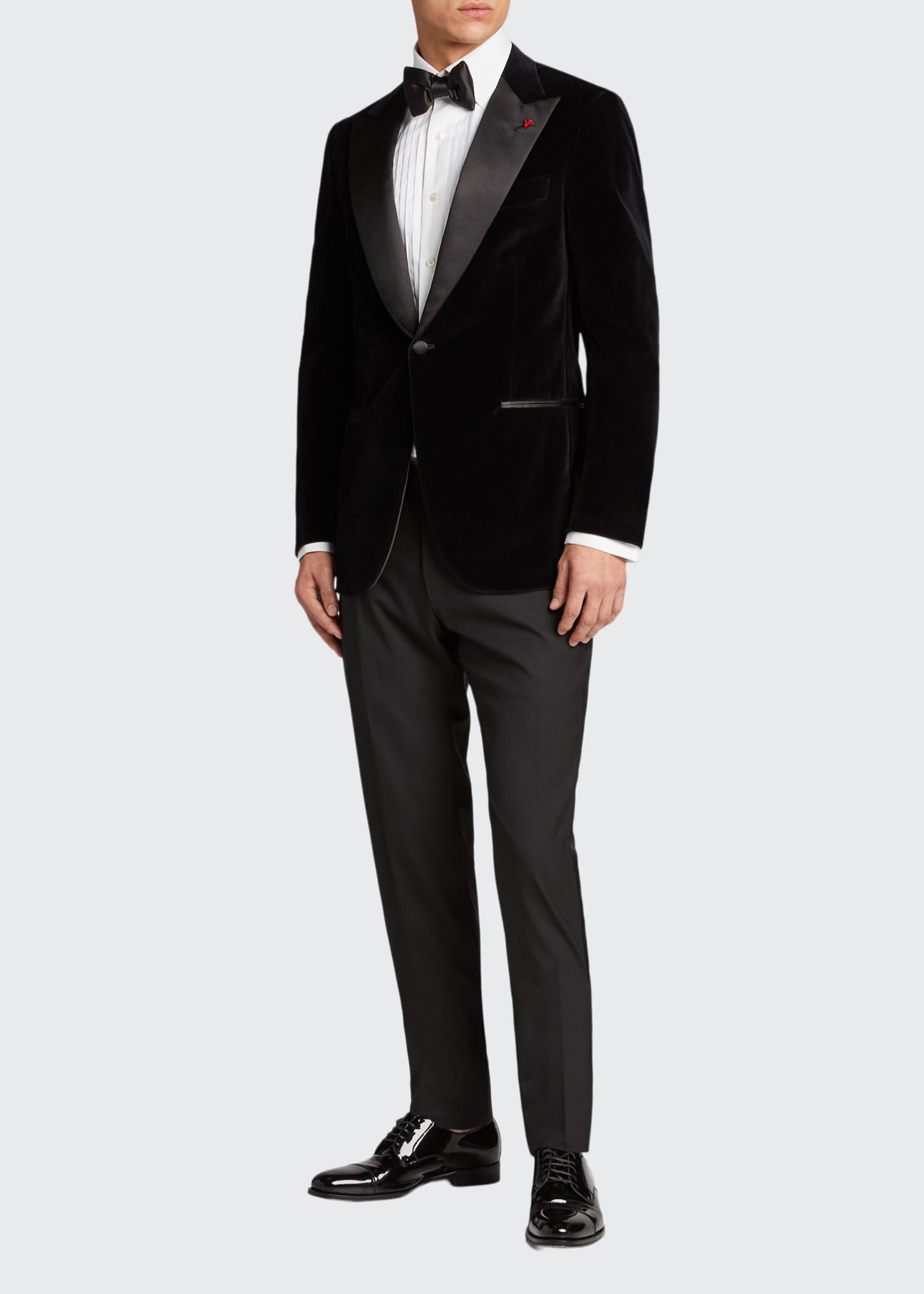 Isaia Men's Velvet Satin-Lapel Dinner Jacket