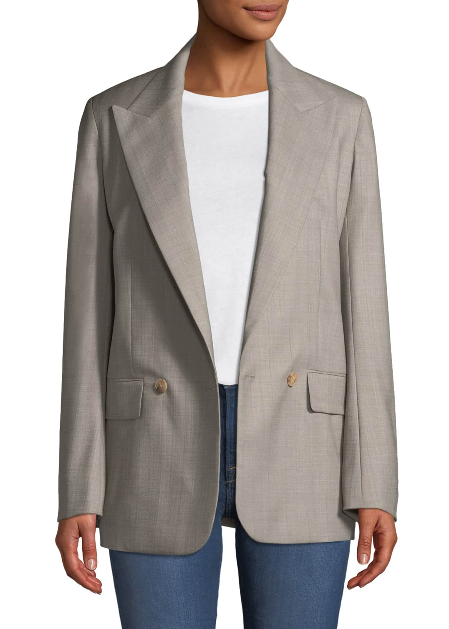 Image 3 of 3: Presner Double-Breasted Canvas Wool Blazer