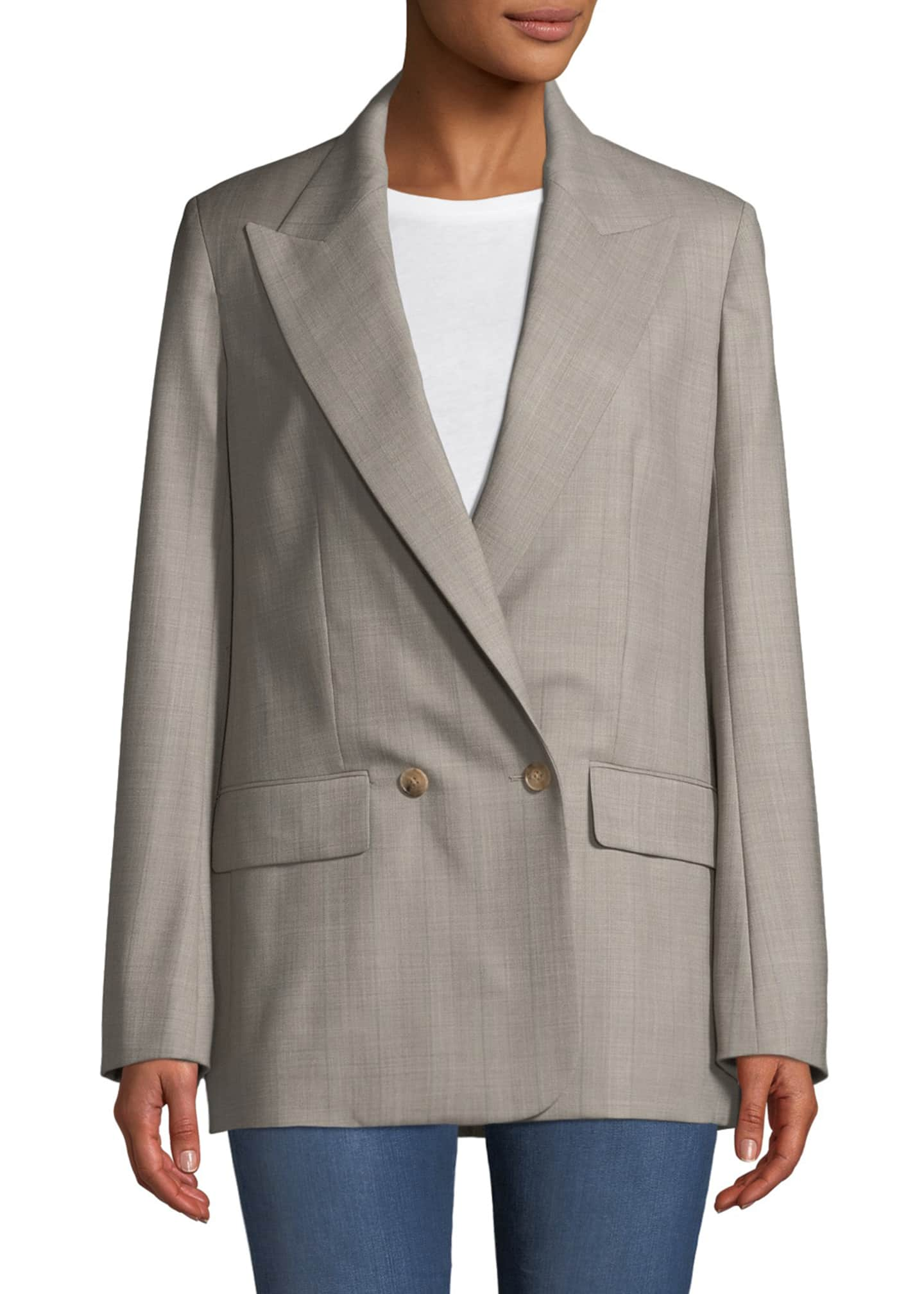Image 1 of 3: Presner Double-Breasted Canvas Wool Blazer