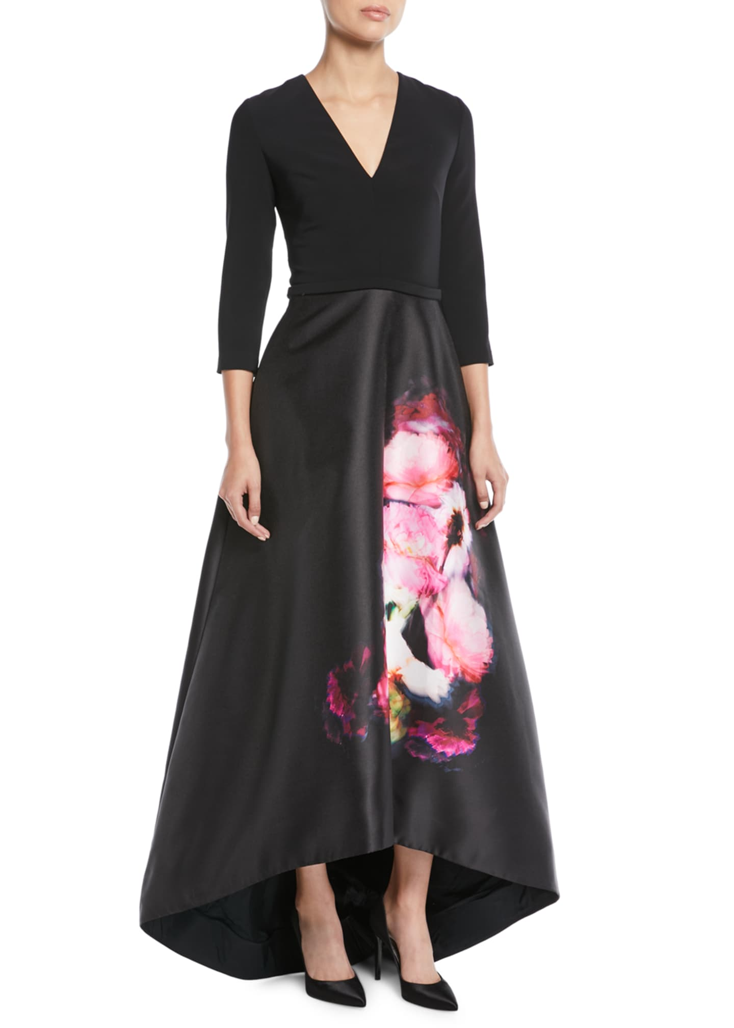 Theia High-Low Ball Gown w/ Flower Skirt