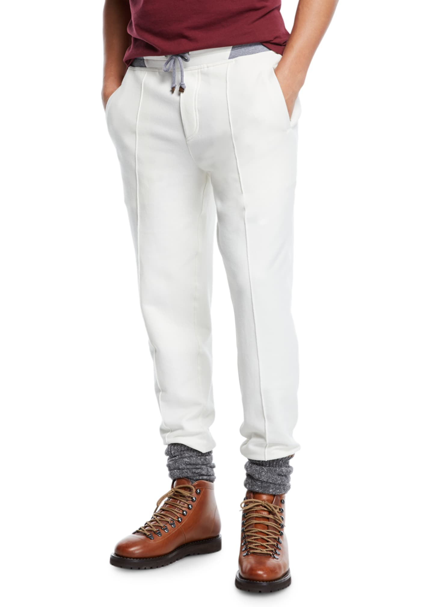 Brunello Cucinelli Men's Drawstring Spa Sweatpants with Front