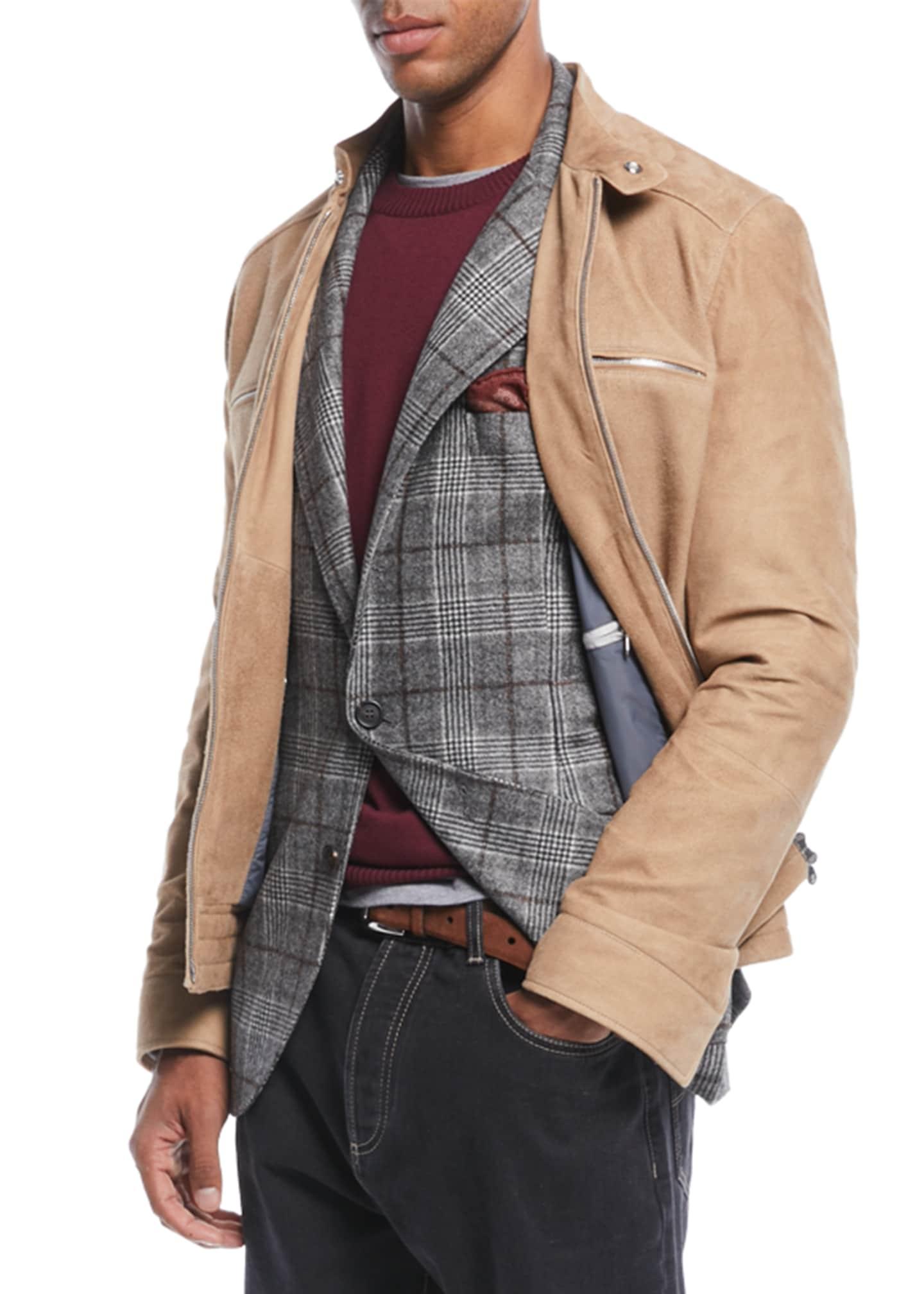 Brunello Cucinelli Men's Zip-Front Lambskin Suede Jacket