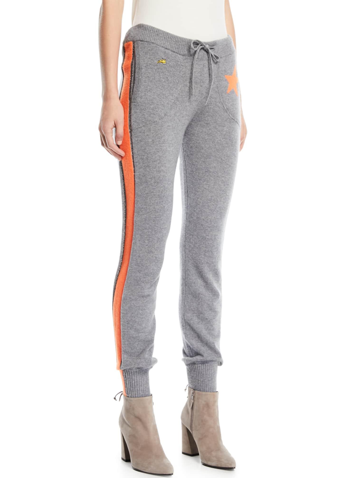 Bella Freud Billie Side-Stripe Cashmere Jogger Track Pants
