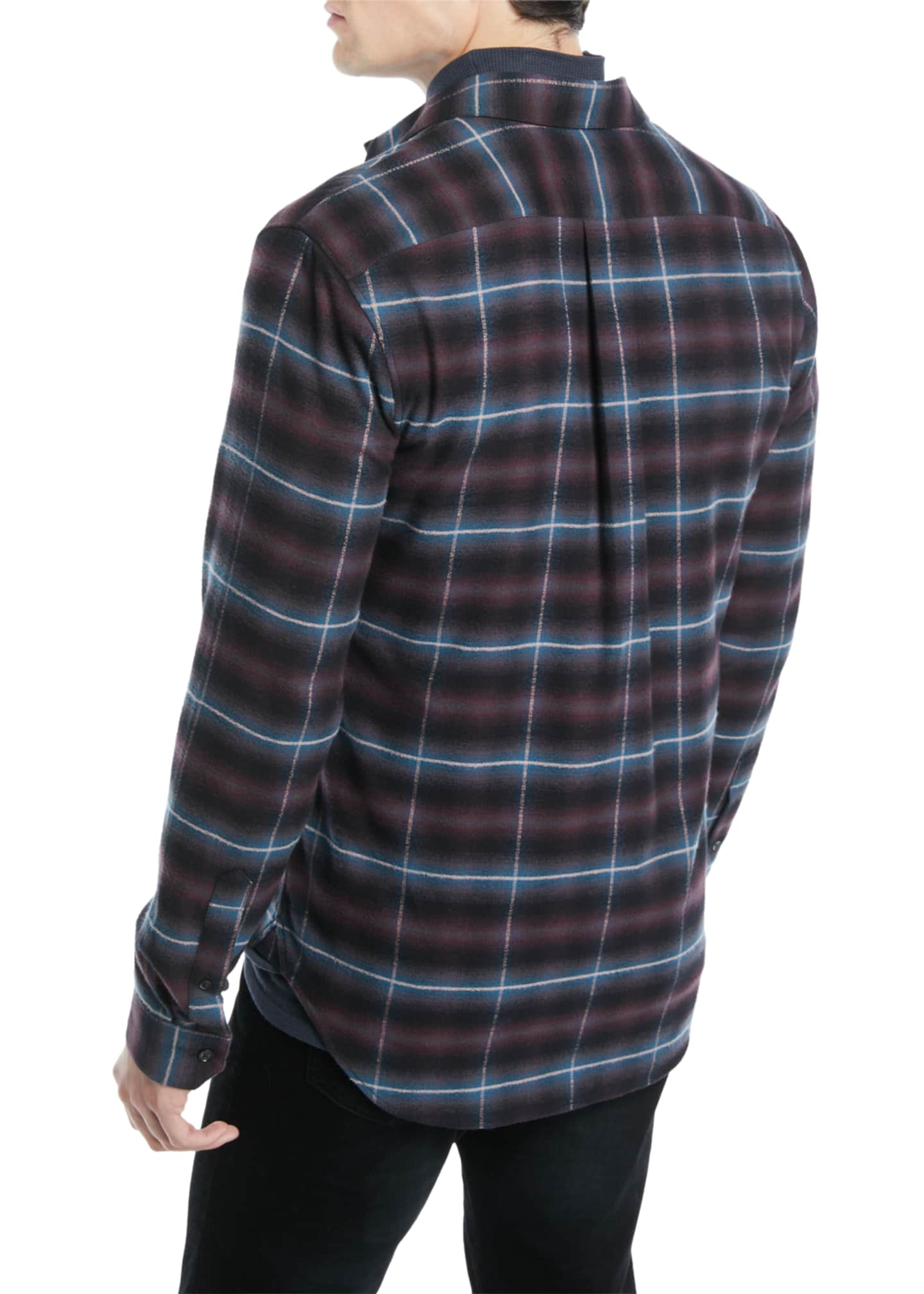 Image 2 of 2: Men's Shadow Grid-Plaid Button-Down Shirt