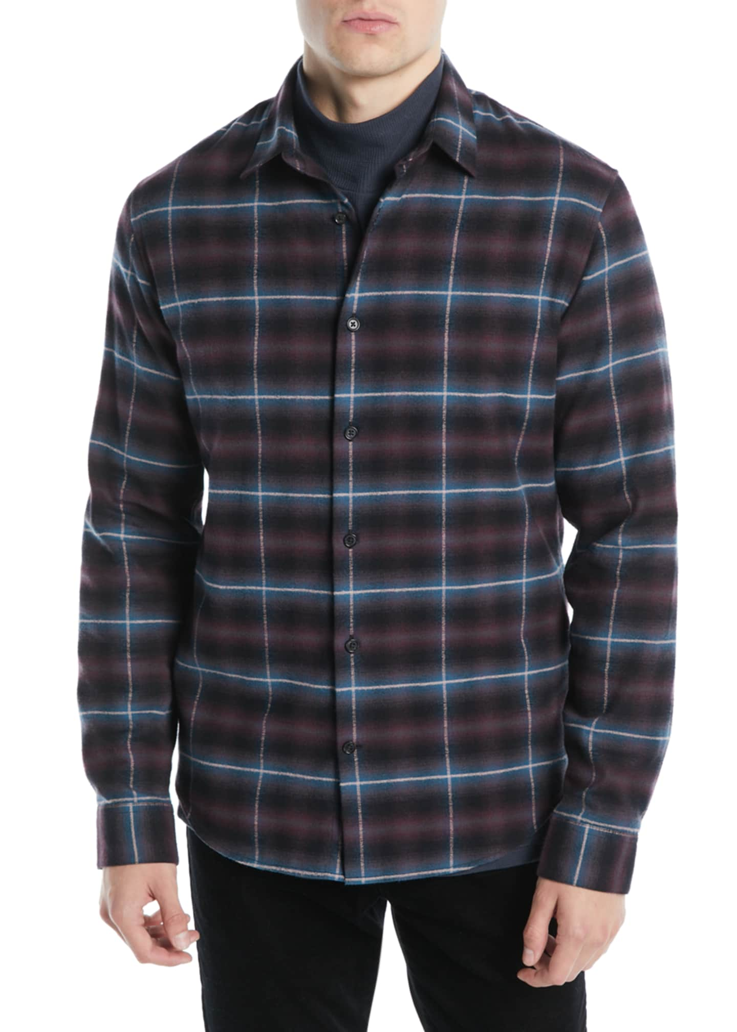Image 1 of 2: Men's Shadow Grid-Plaid Button-Down Shirt