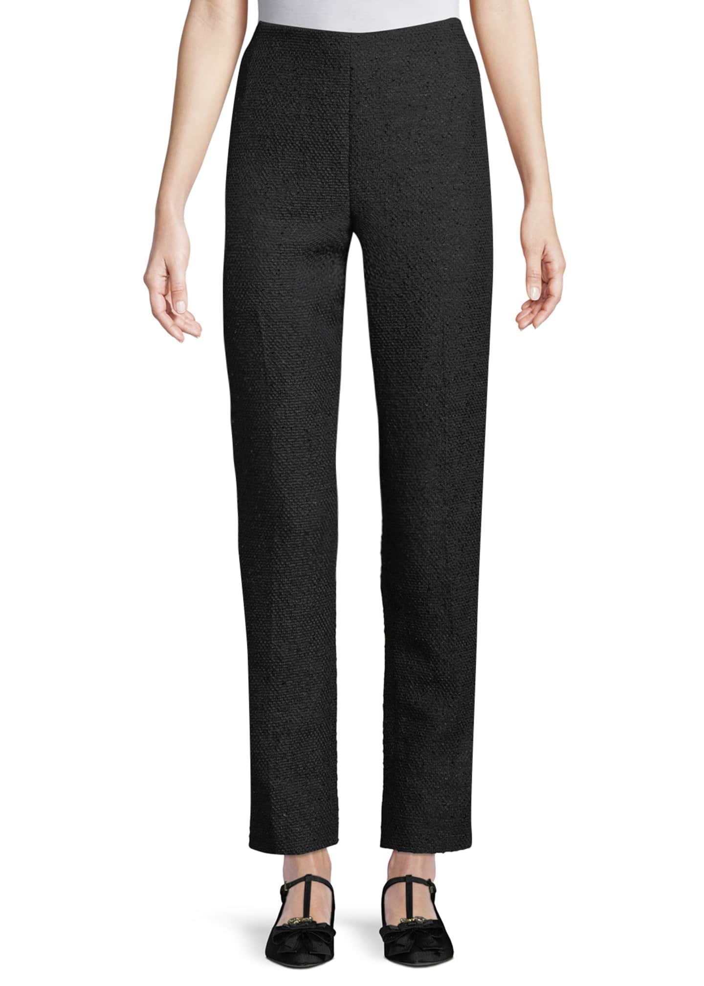 Lela Rose High-Waist Straight-Leg Tweed Pants