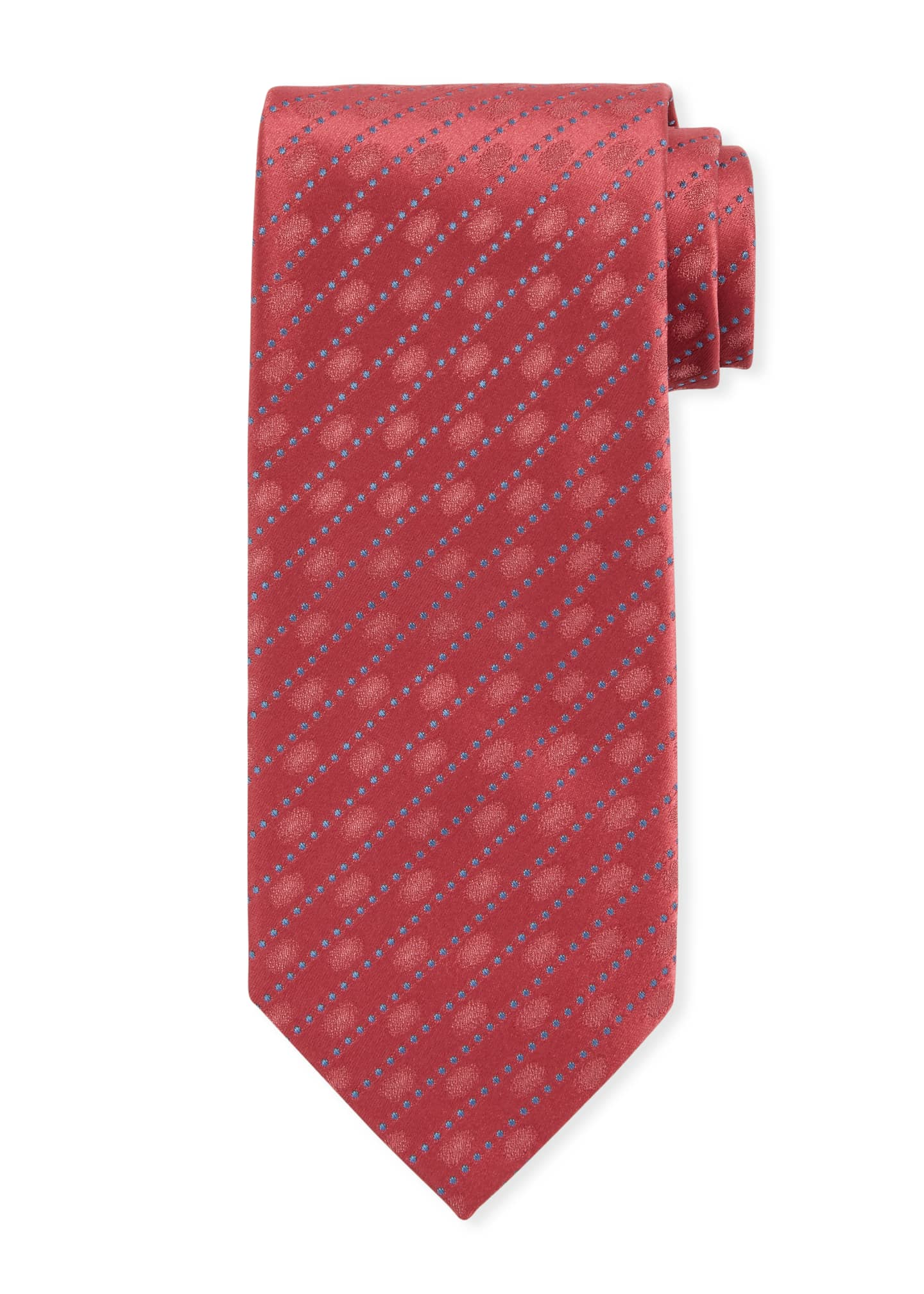 Image 1 of 1: Dotted Striped Silk Tie