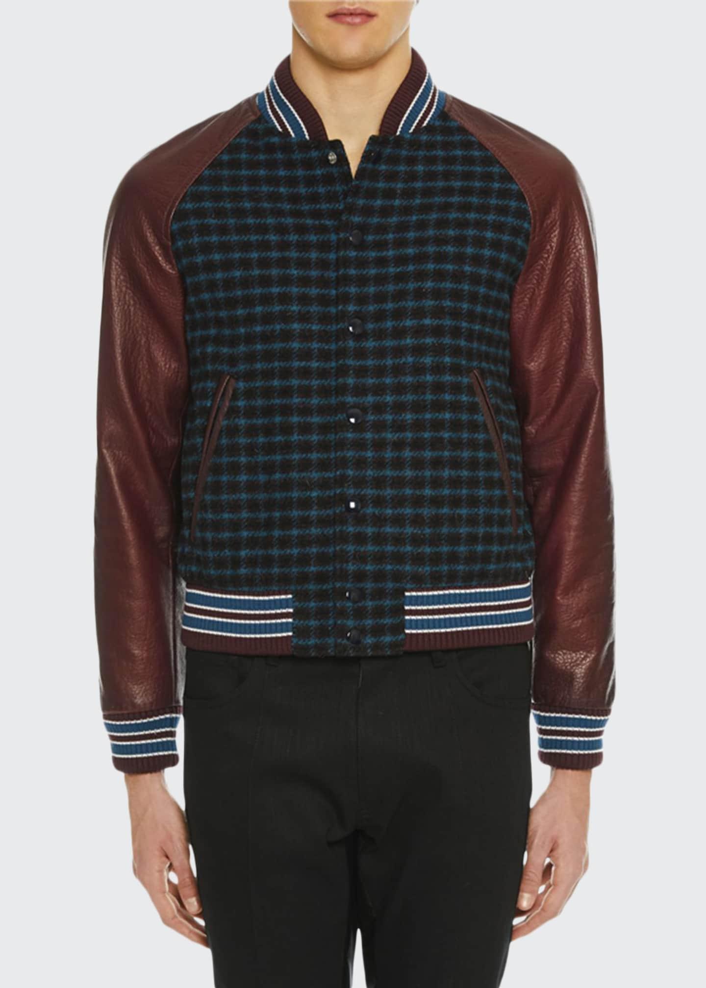 Prada Men's Leather-Trim Grid-Pattern Bomber Jacket