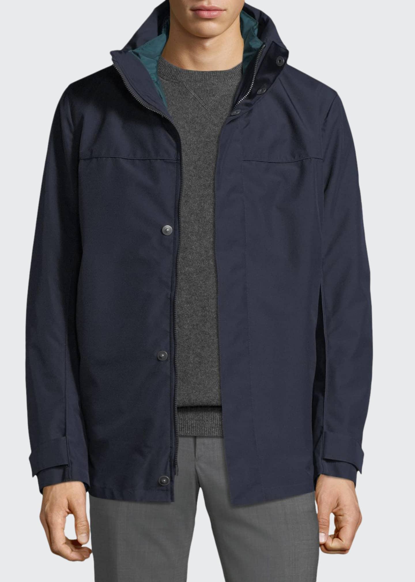 Prada Men's Hooded Zip-Front Canvas Jacket
