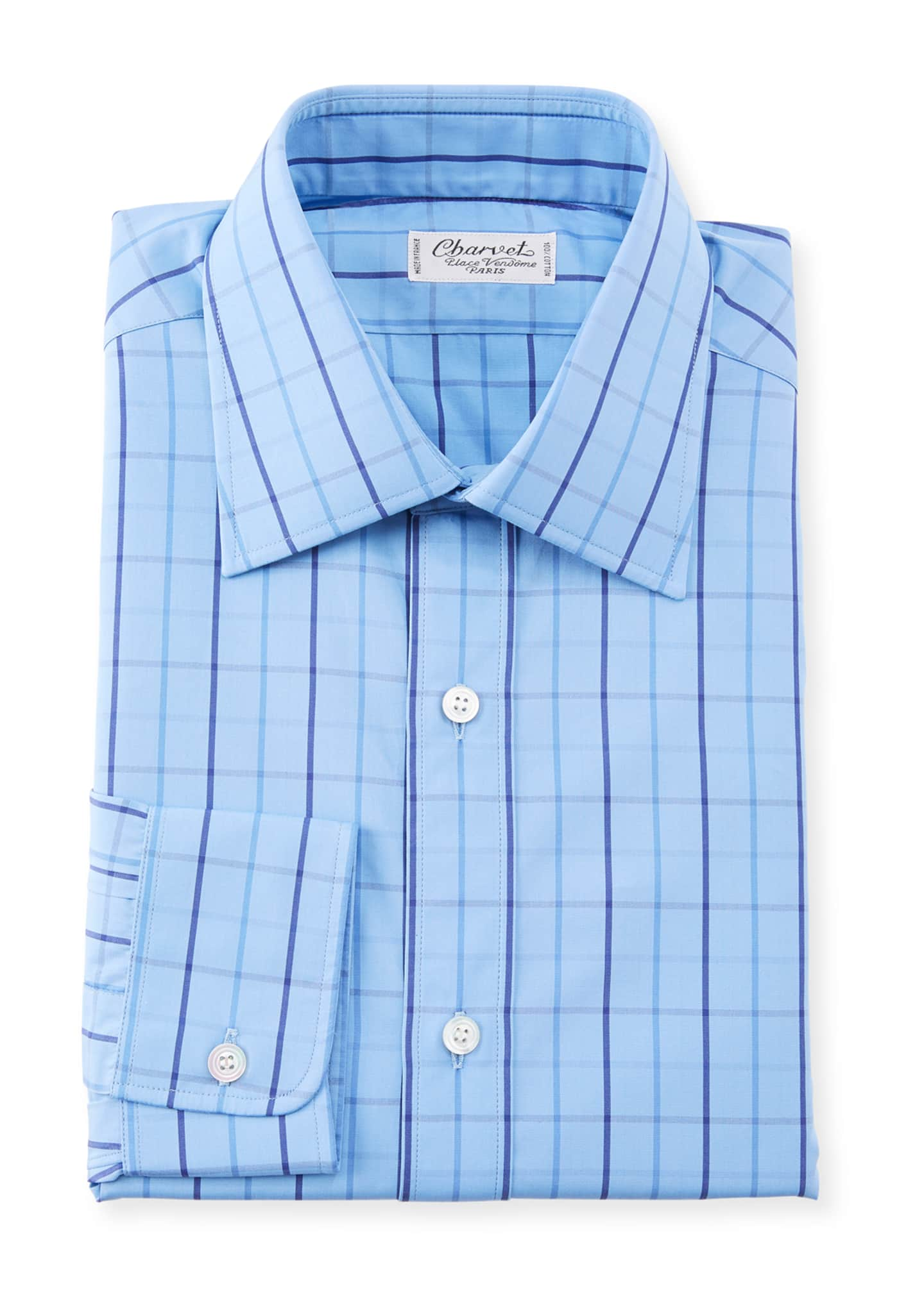 Charvet Men's Grid Striped Dress Shirt