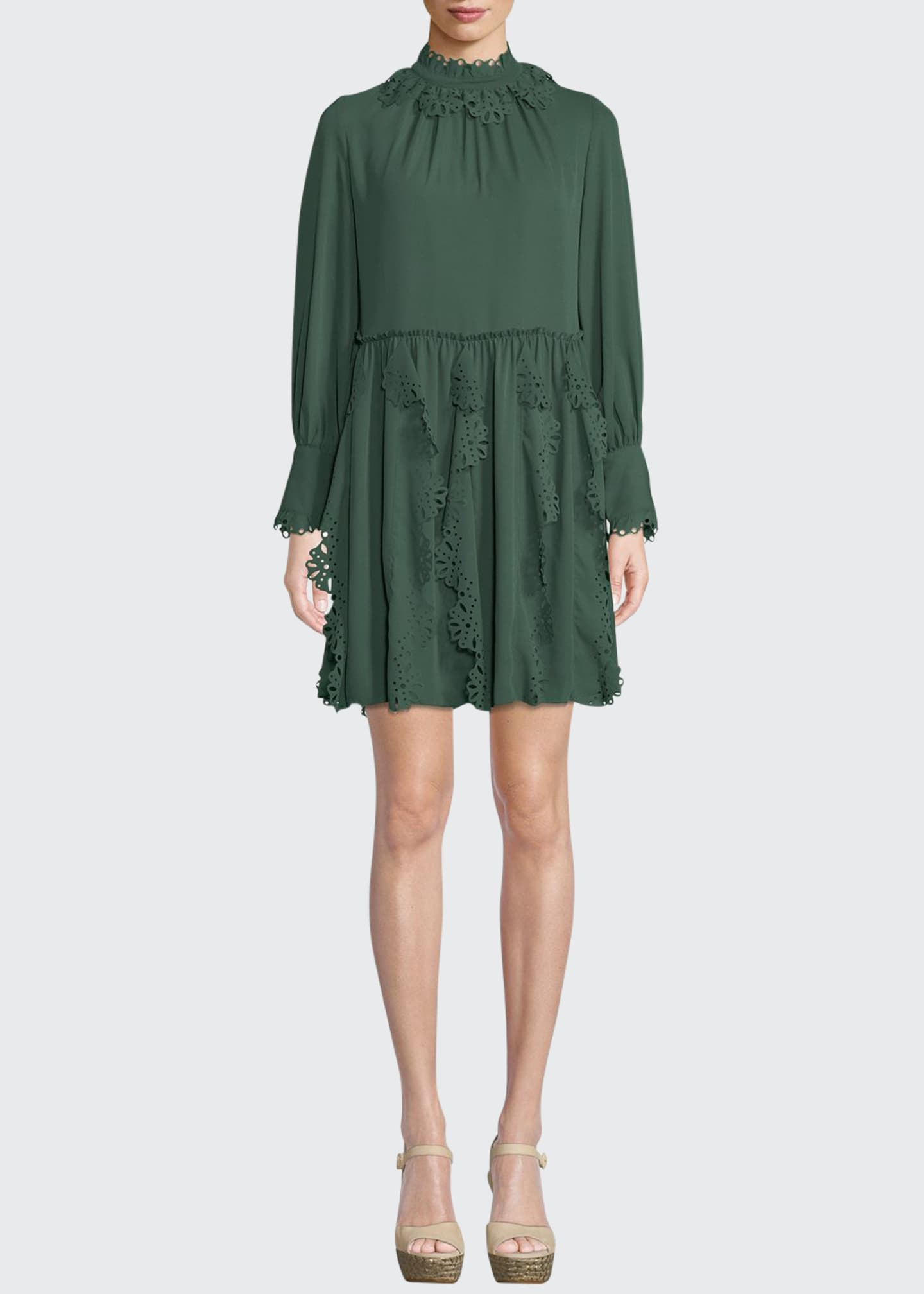 Fl Lace Puff Sleeve Midi Dress