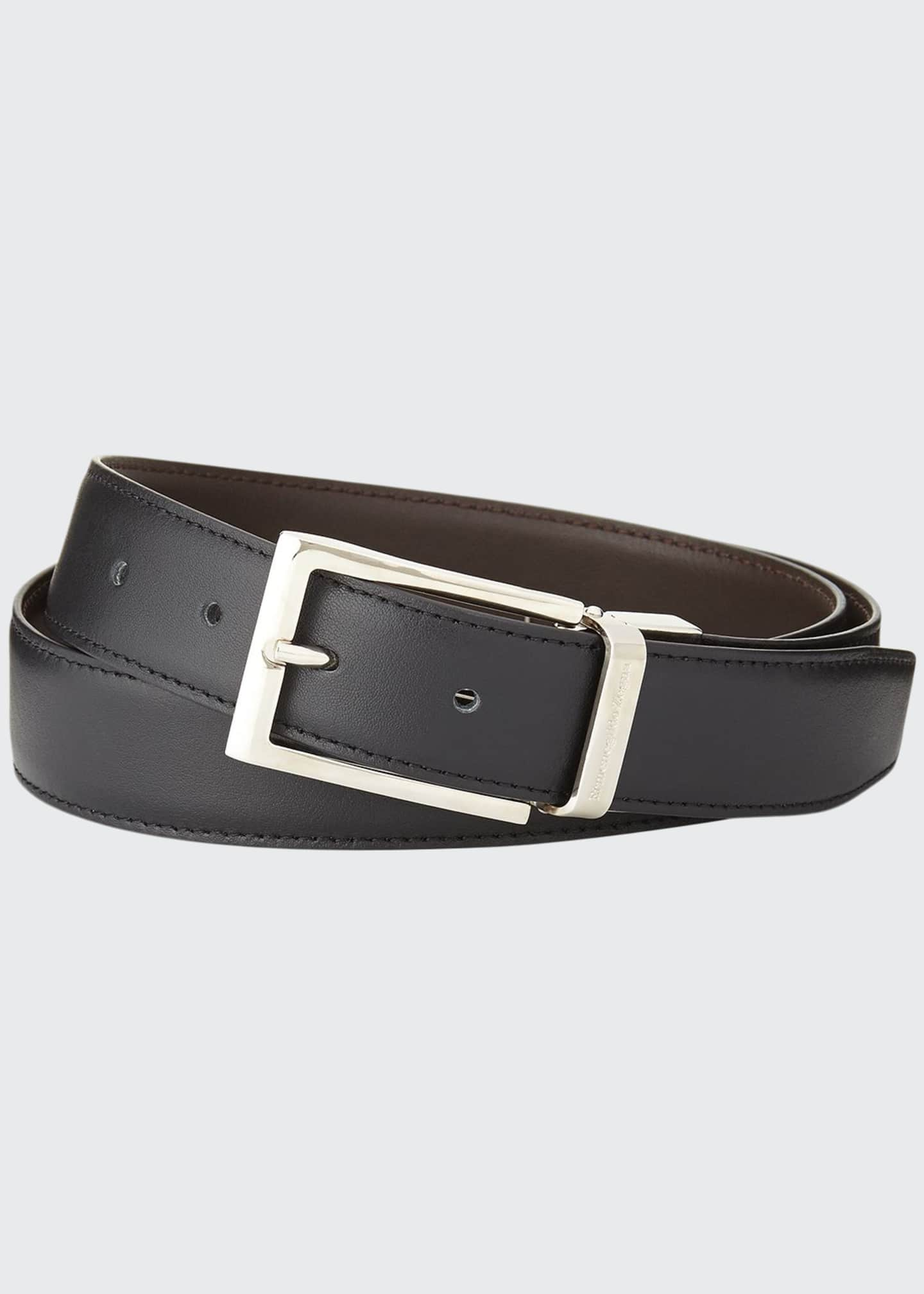Ermenegildo Zegna Reversible Belt w/Polished Buckle, Black/Dark