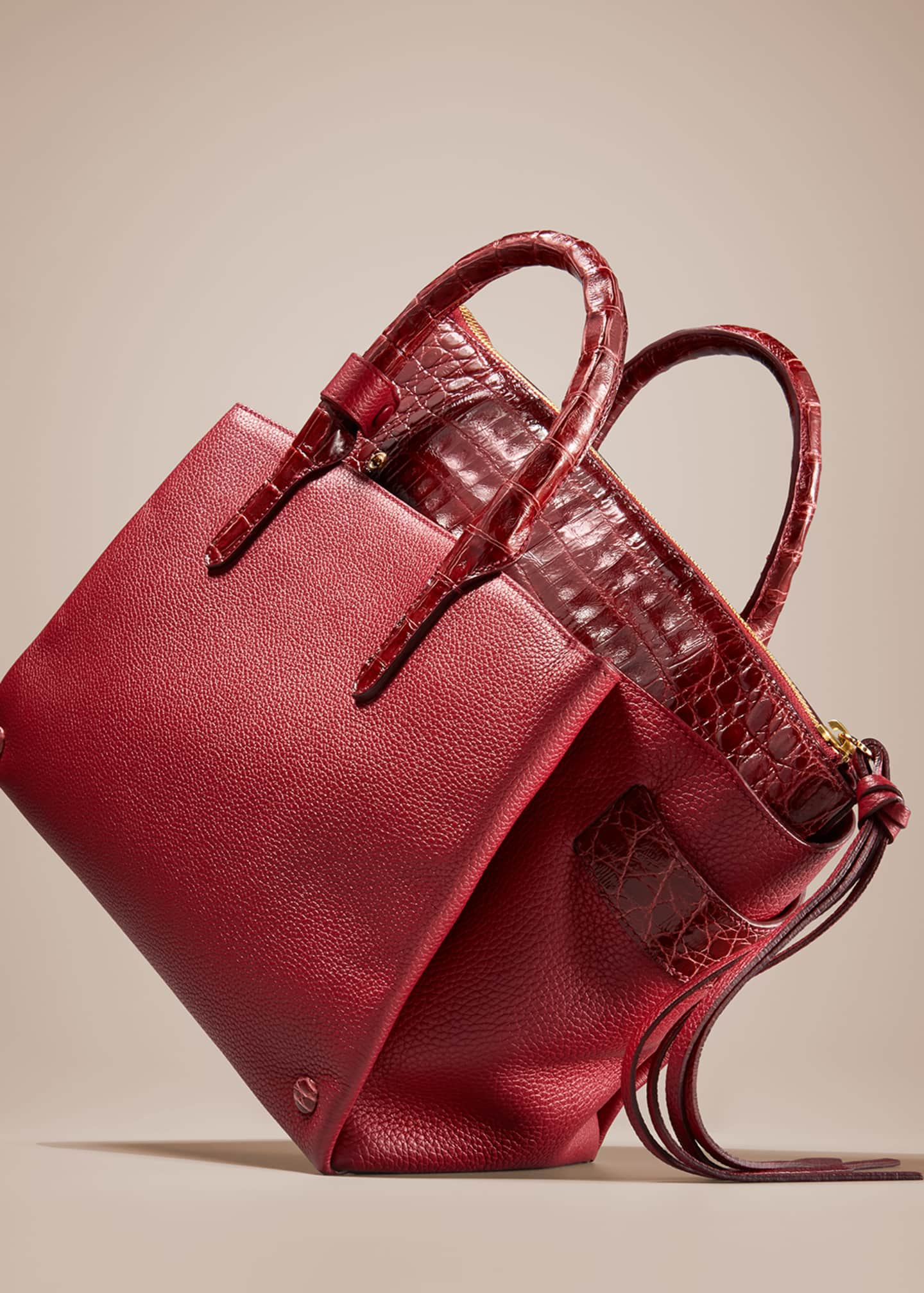 Image 2 of 4: Christy Small Crocodile/Leather Tote Bag