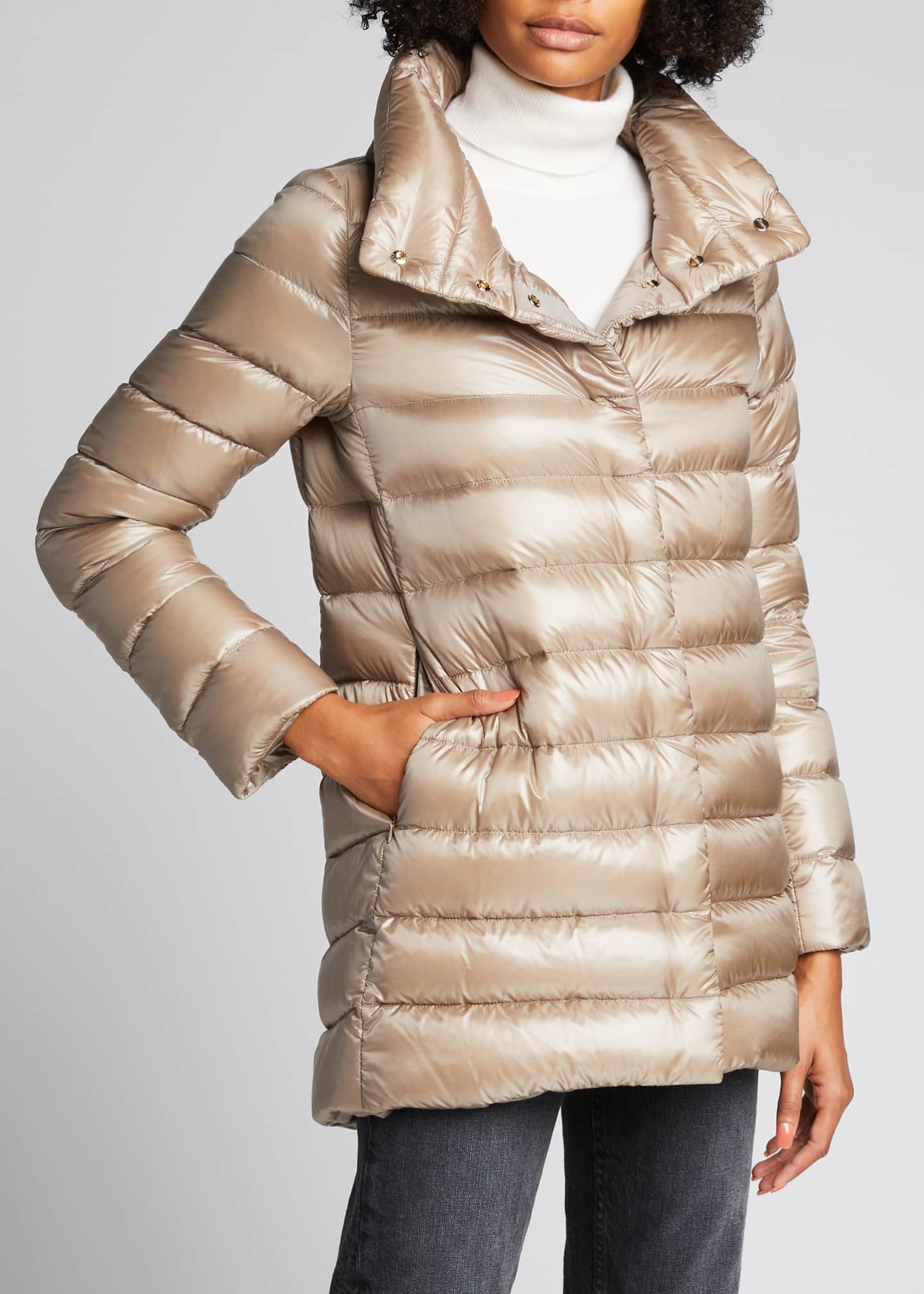 Image 3 of 4: Ribbed High-Low Down Puffer Jacket