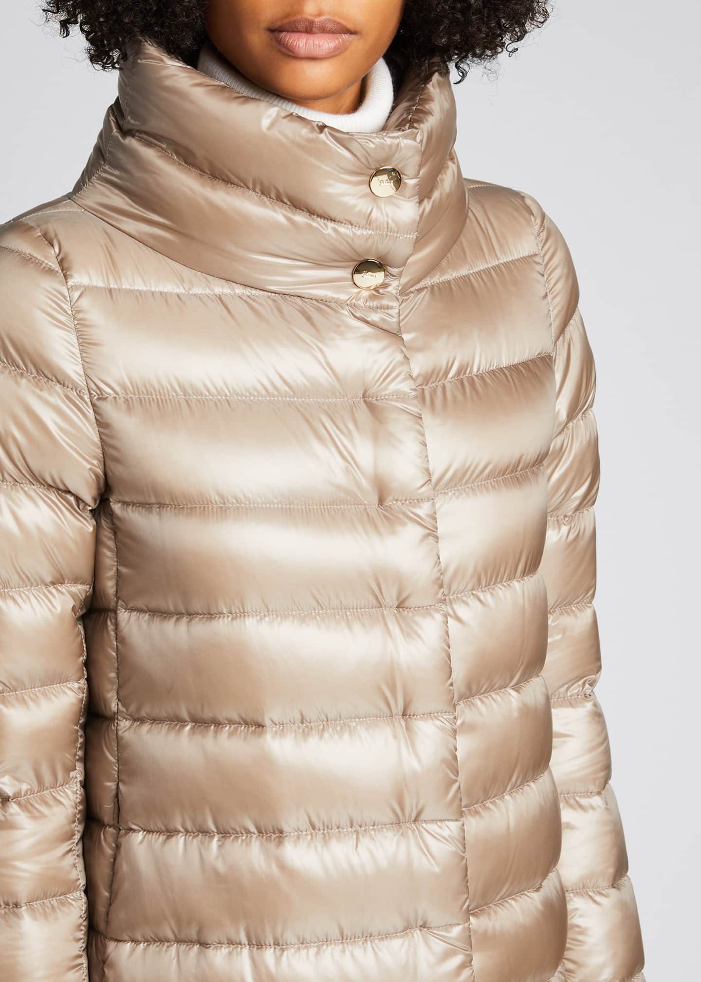 Image 4 of 4: Ribbed High-Low Down Puffer Jacket