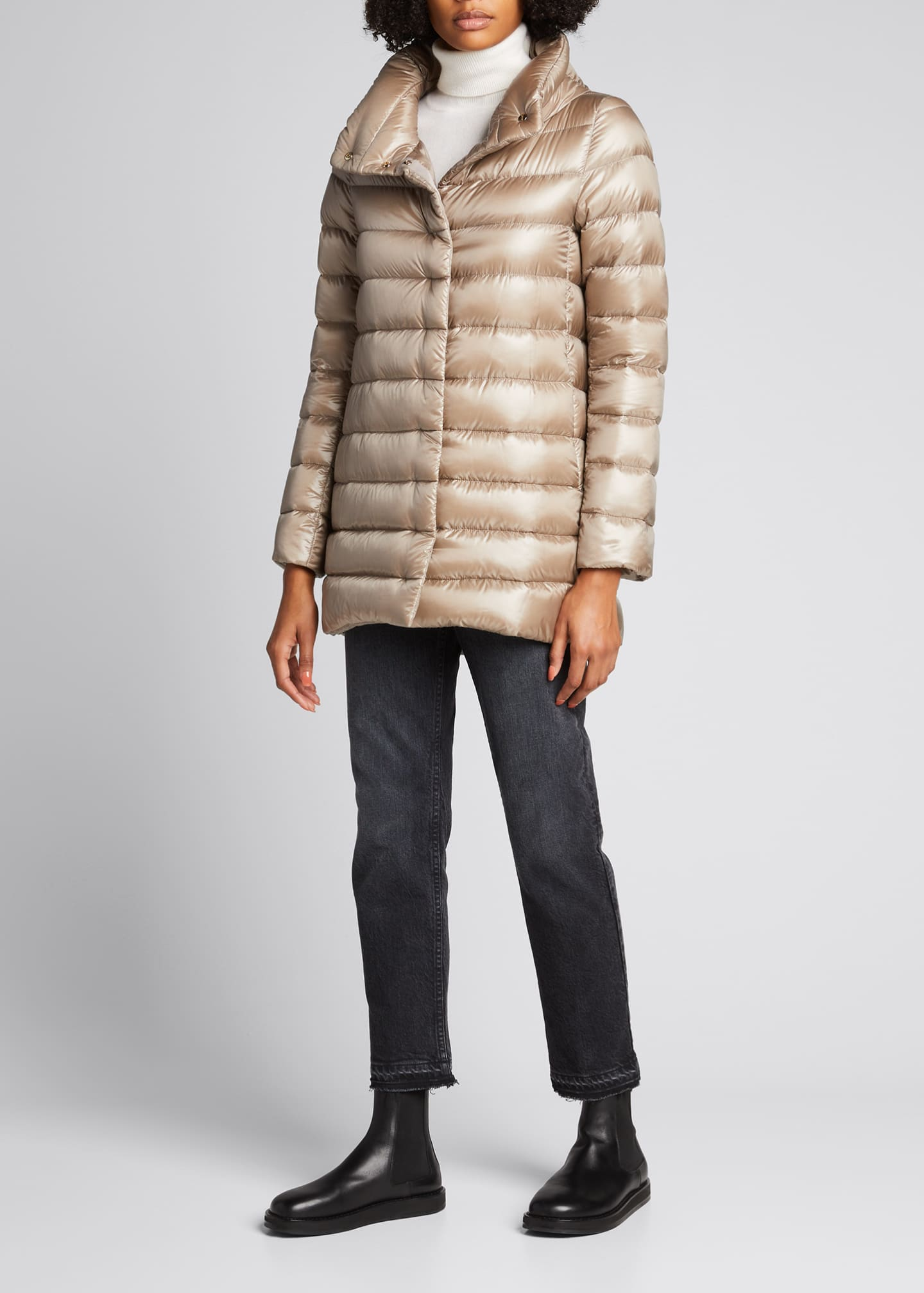 Image 1 of 4: Ribbed High-Low Down Puffer Jacket