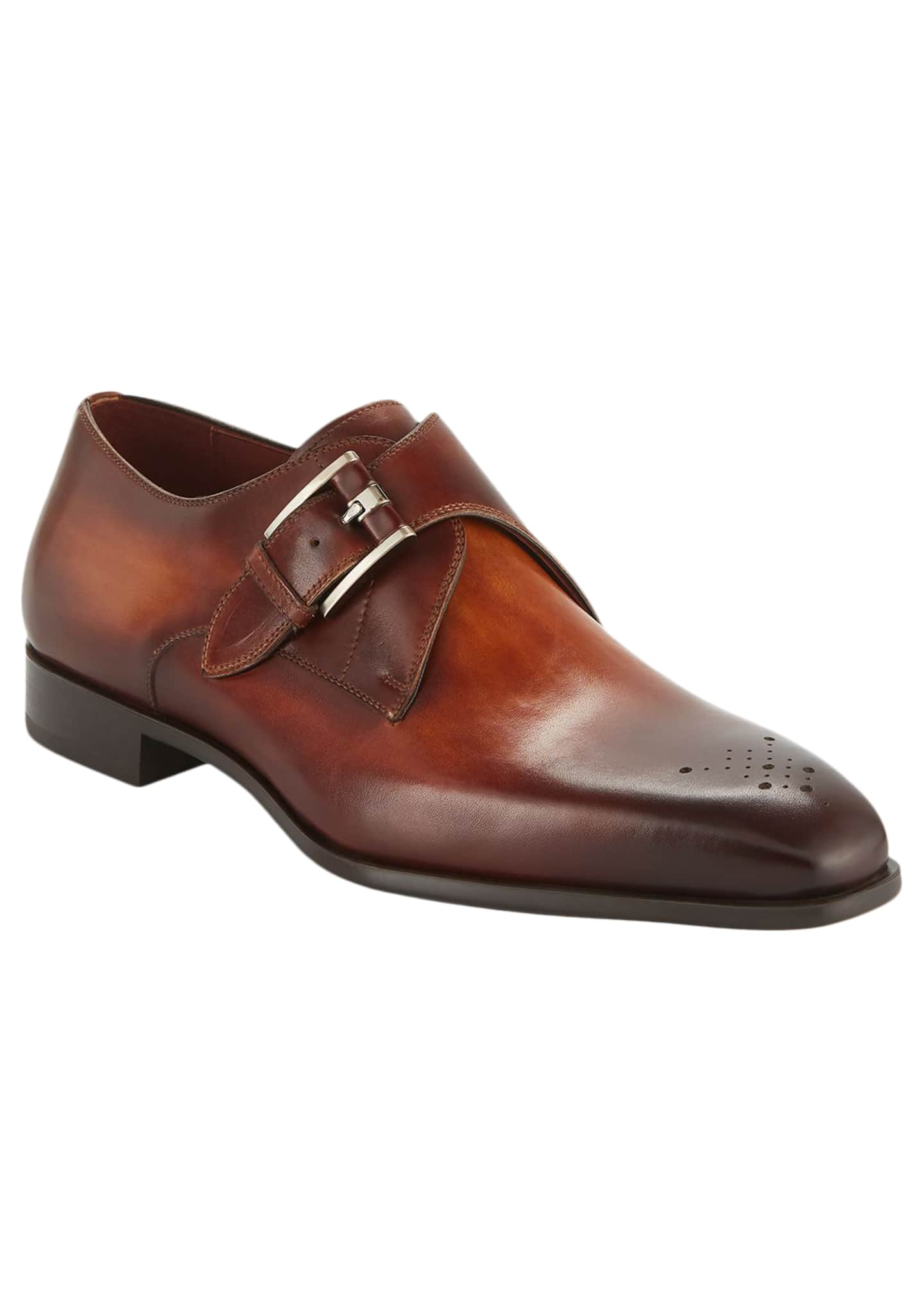 Magnanni for Neiman Marcus Men's Single-Monk Leather Shoes
