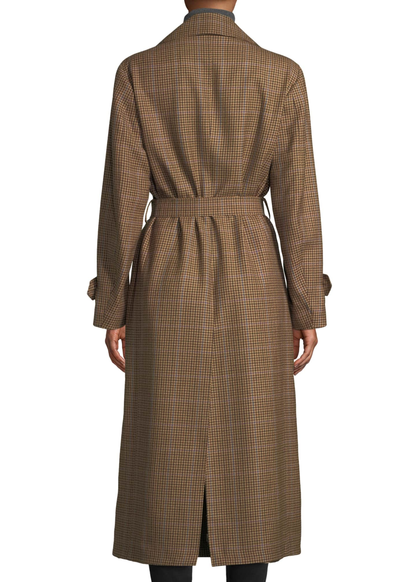 Image 2 of 3: The Christie Double-Breasted Plaid Wool Trench Coat