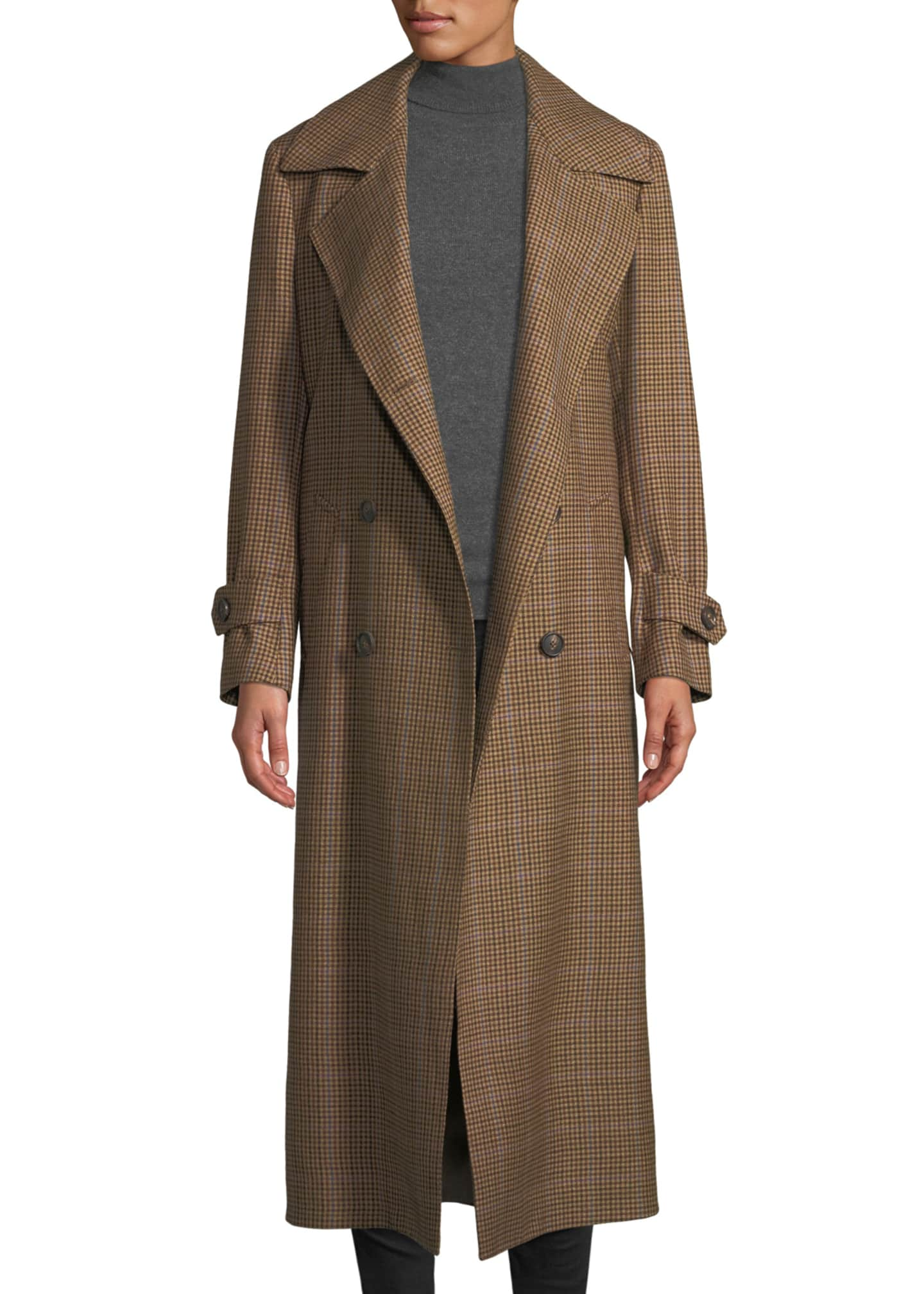 Image 3 of 3: The Christie Double-Breasted Plaid Wool Trench Coat