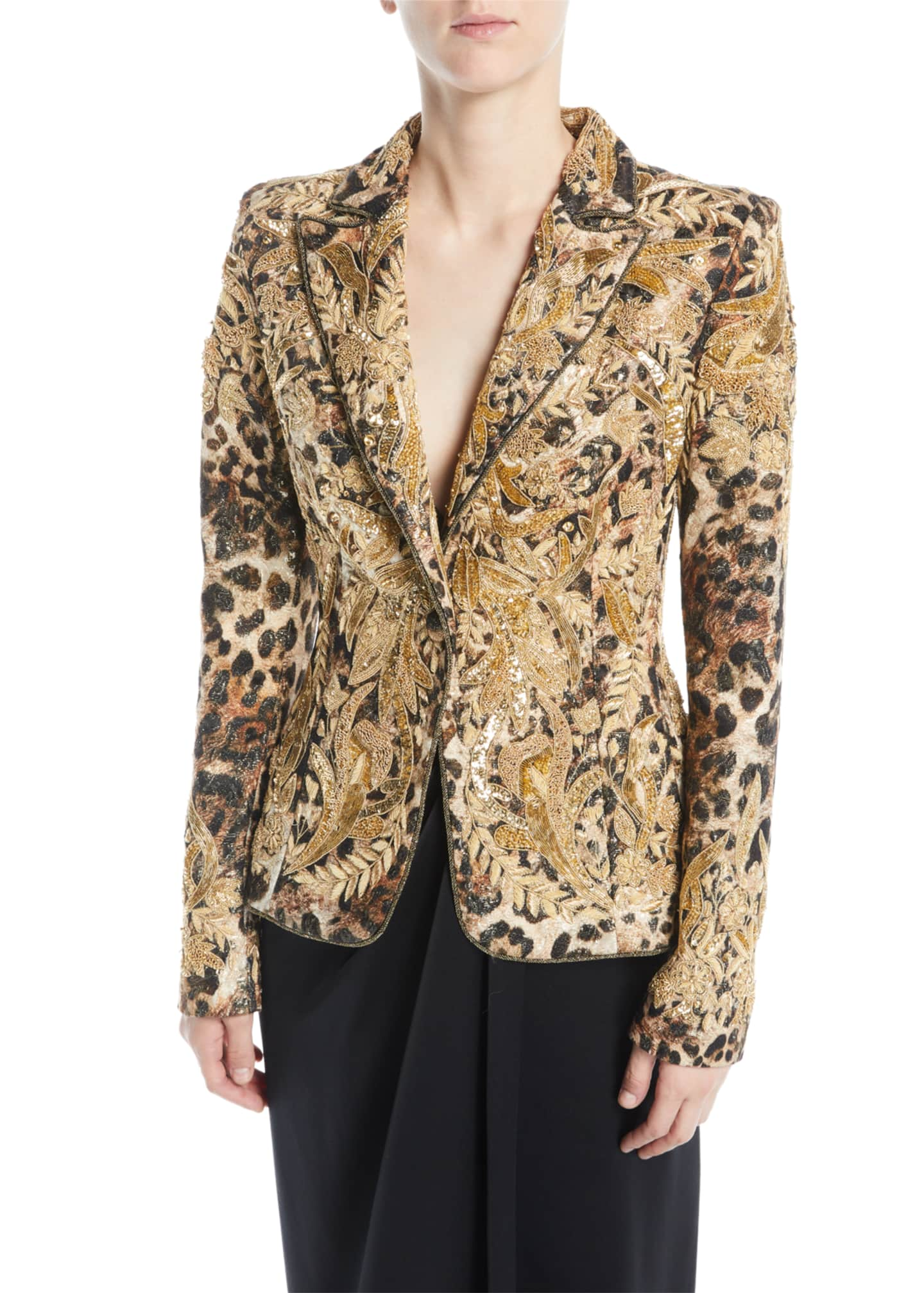 Image 2 of 3: Animal-Print Beaded Jacquard Jacket